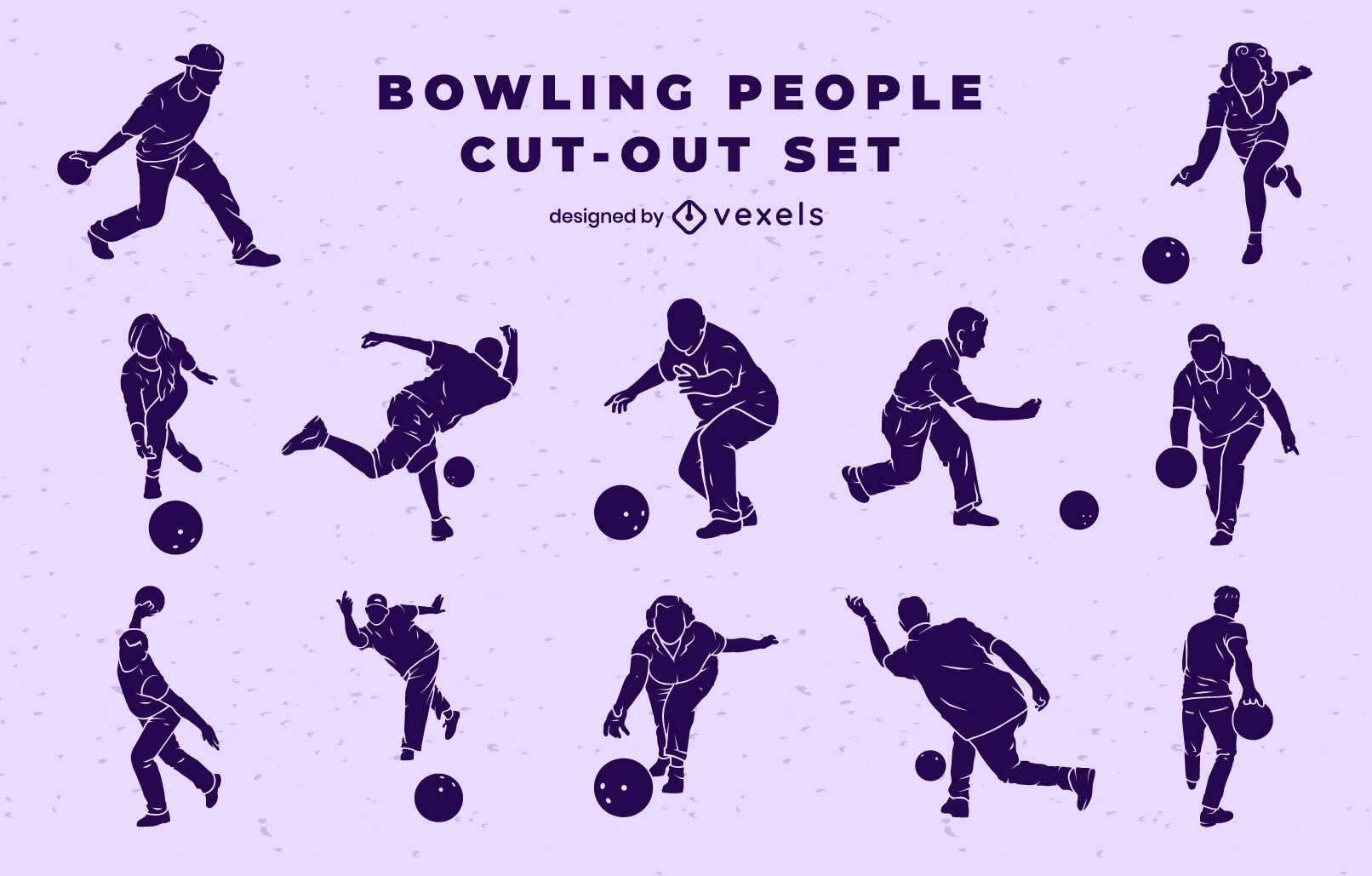 Bowling people cut out set
