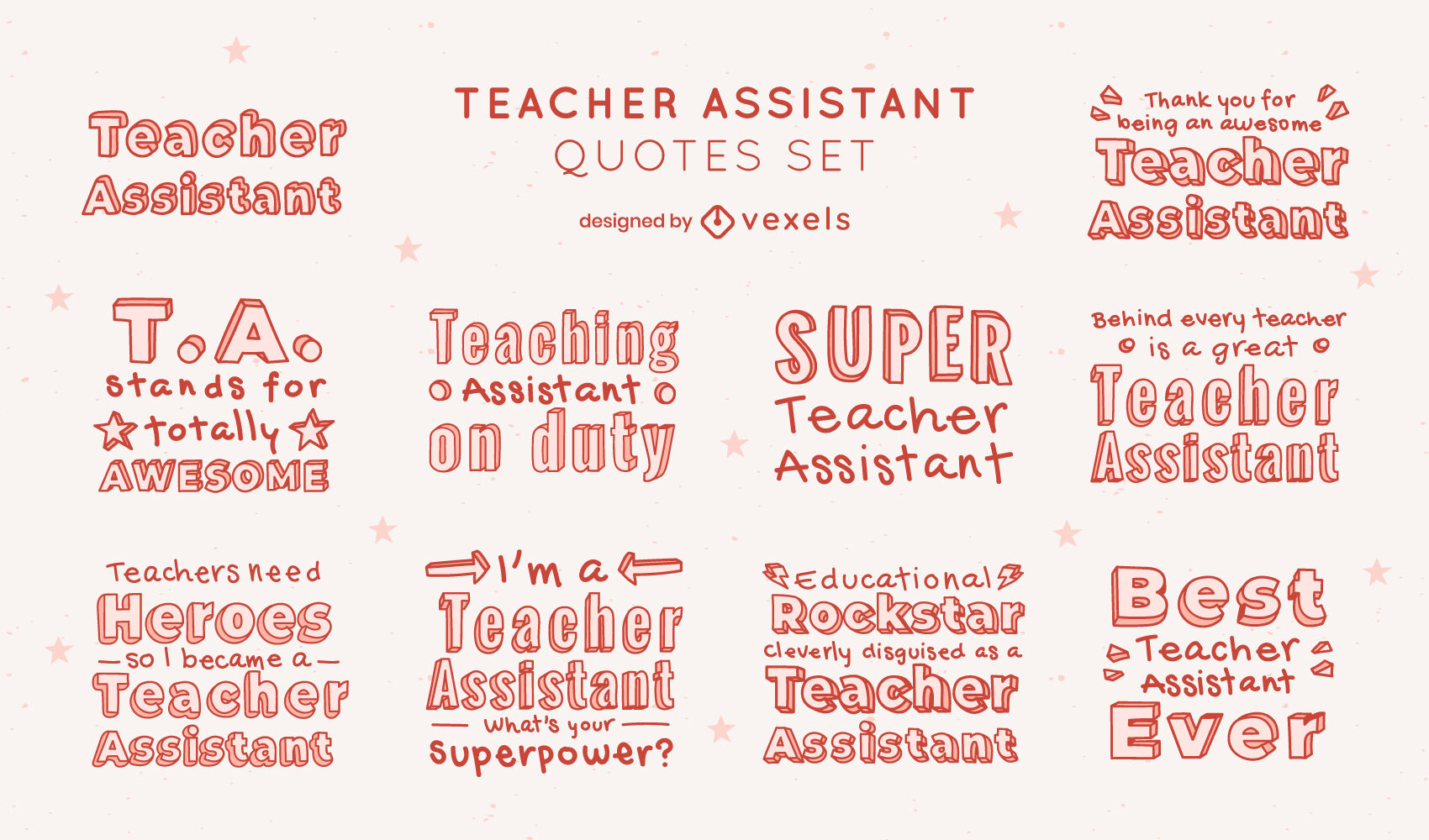 Teacher assistant set of lettering quotes