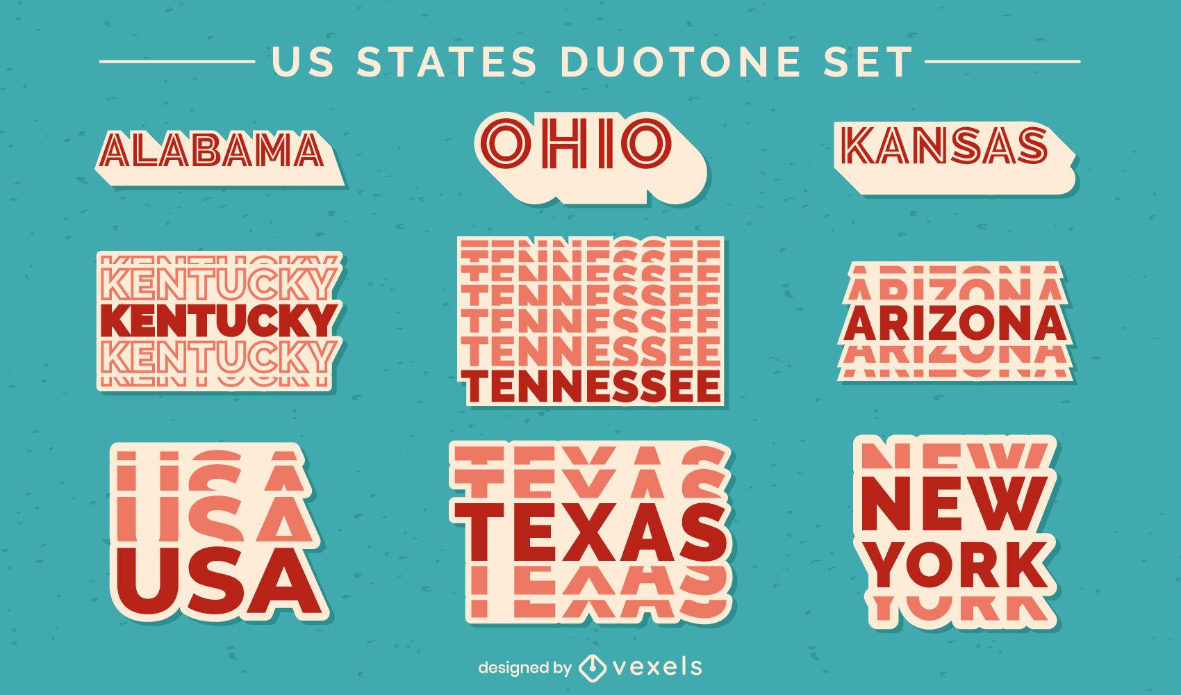 US states duotone lettering set