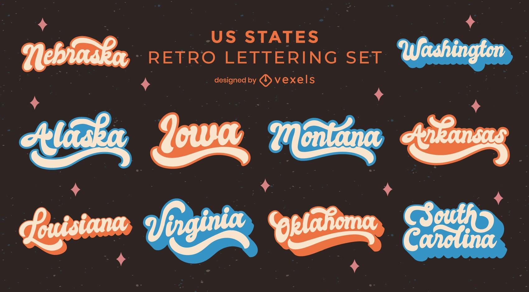 US states retro lettering set