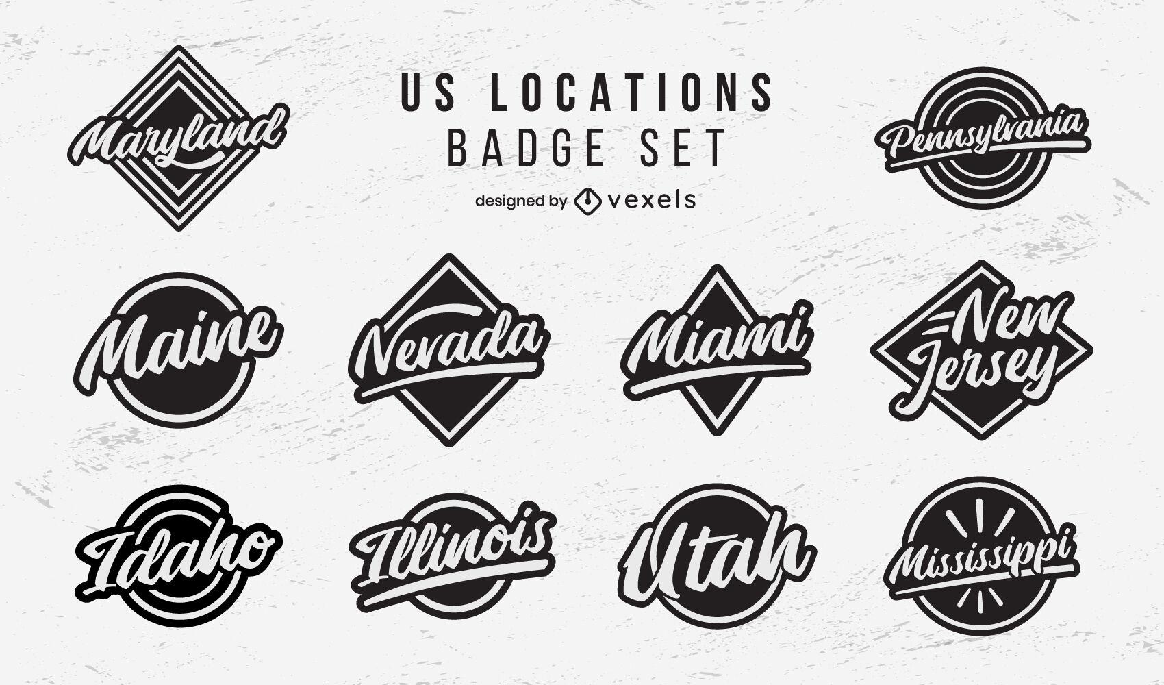 US locations badges lettering set