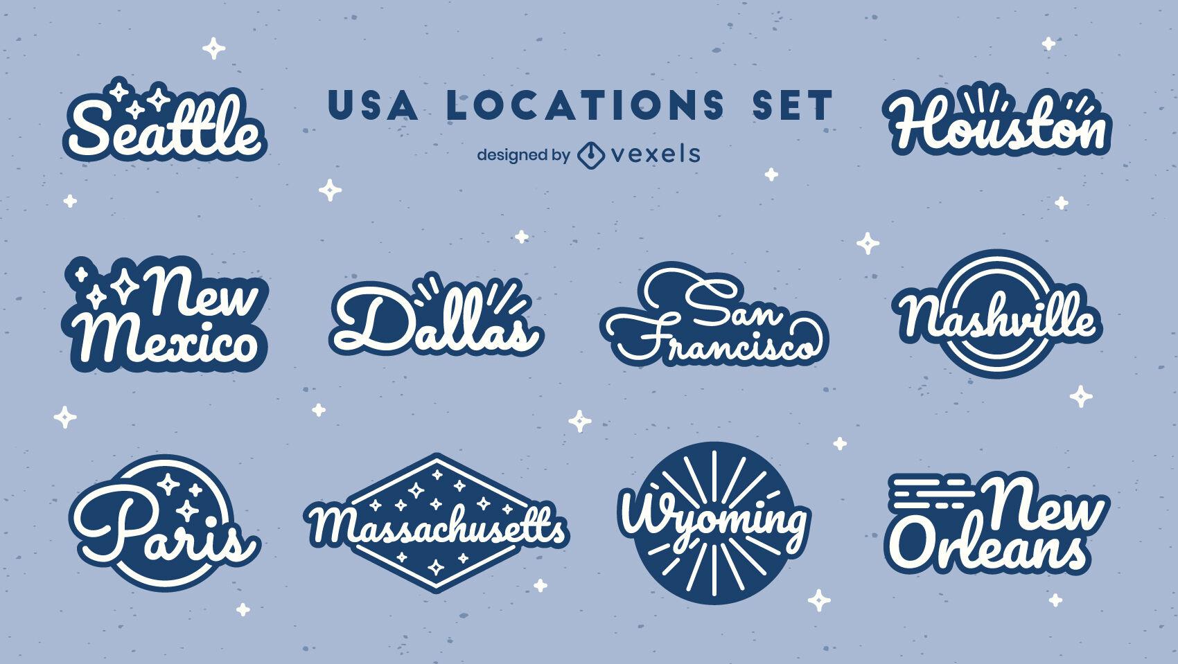 US states lettering badges set