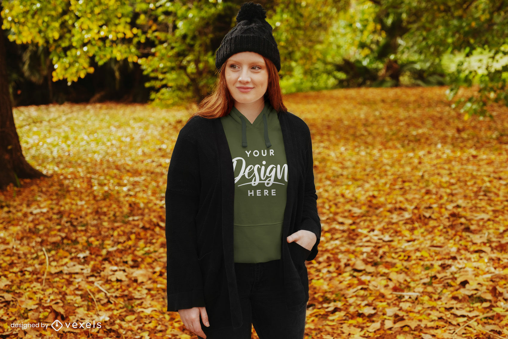 Autumn ginger girl with beanie hoodie mockup