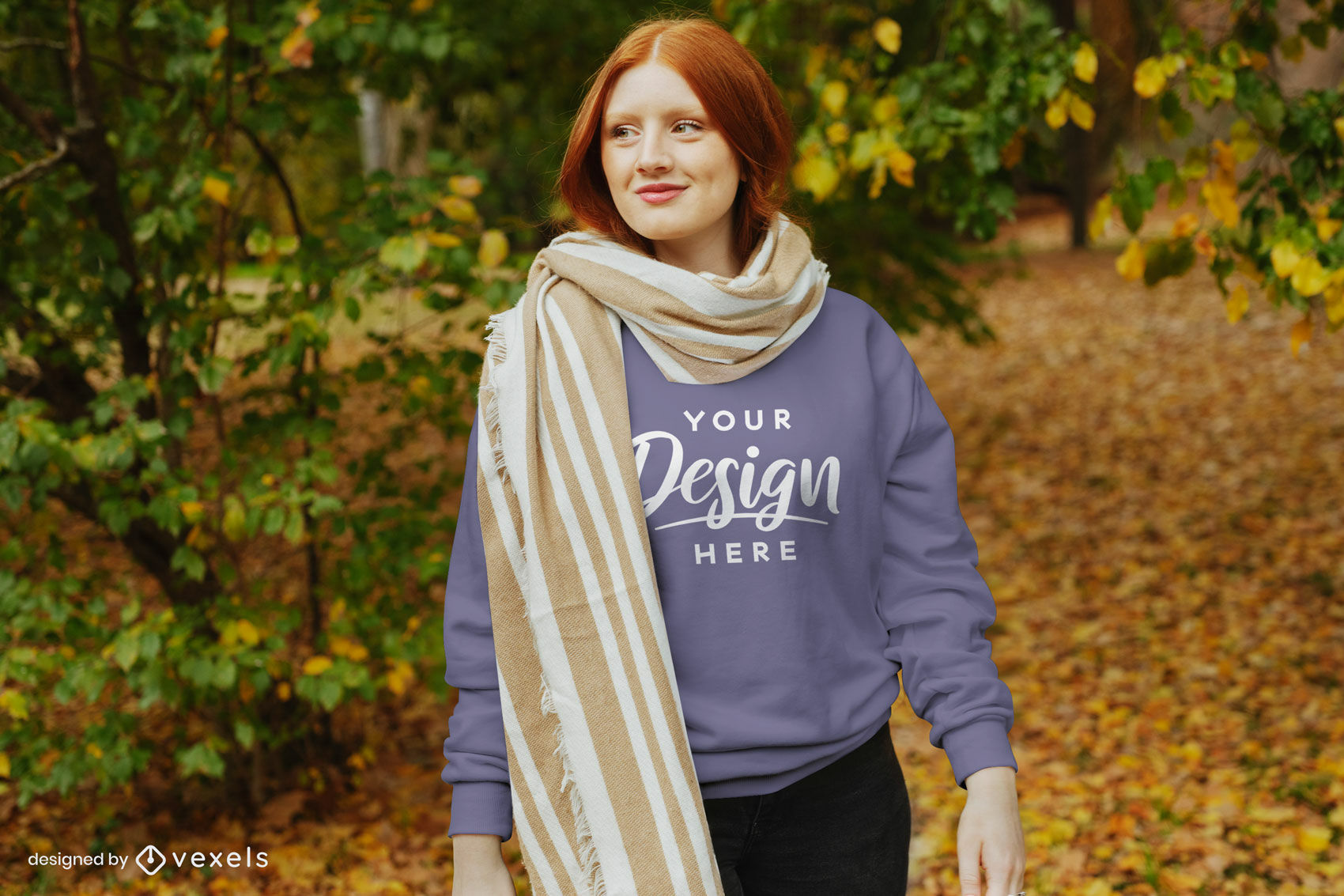 Fall sweatshirt ginger girl in scarf mockup