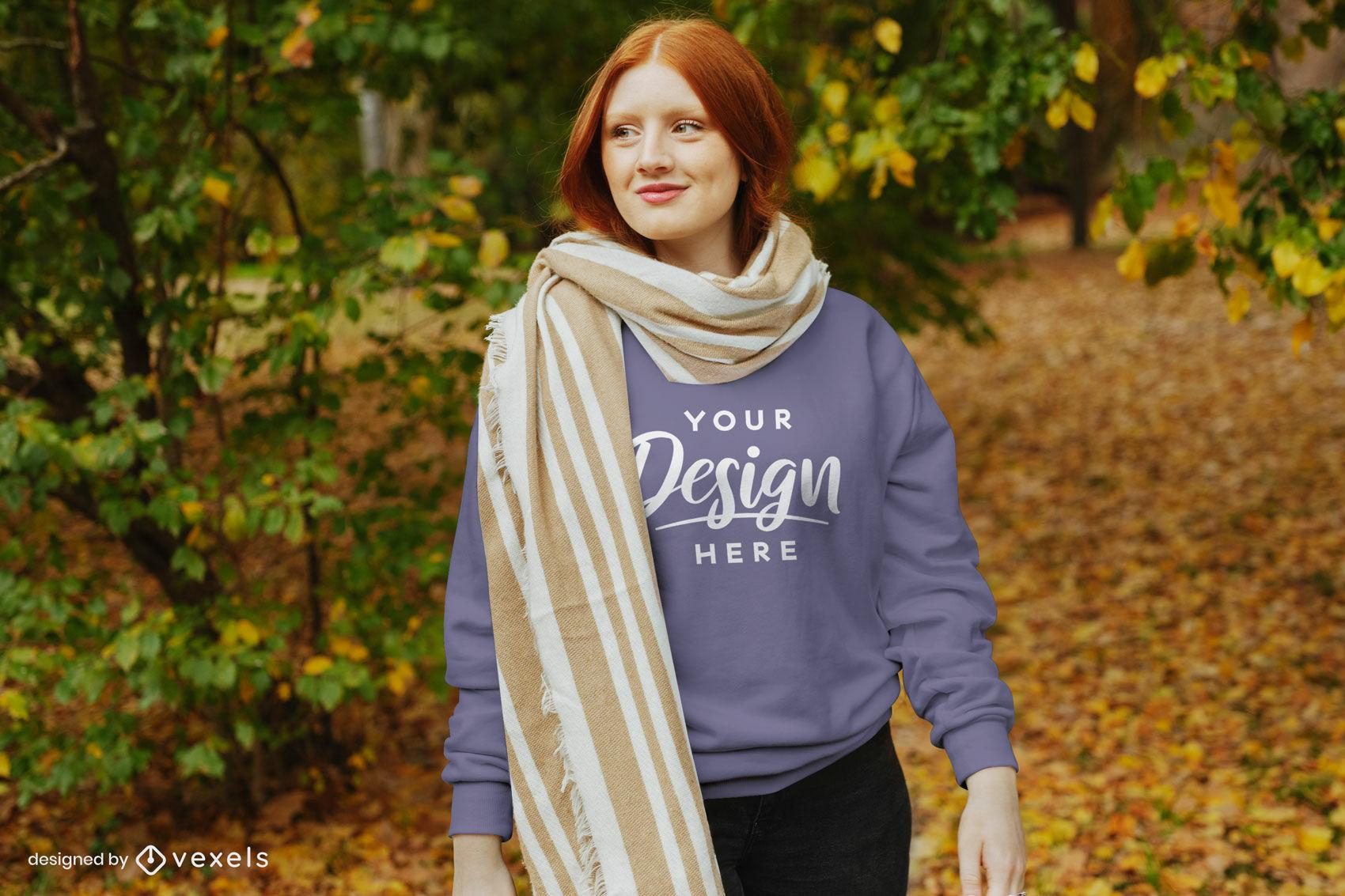 Sudadera de otoño chica jengibre en maqueta de bufanda