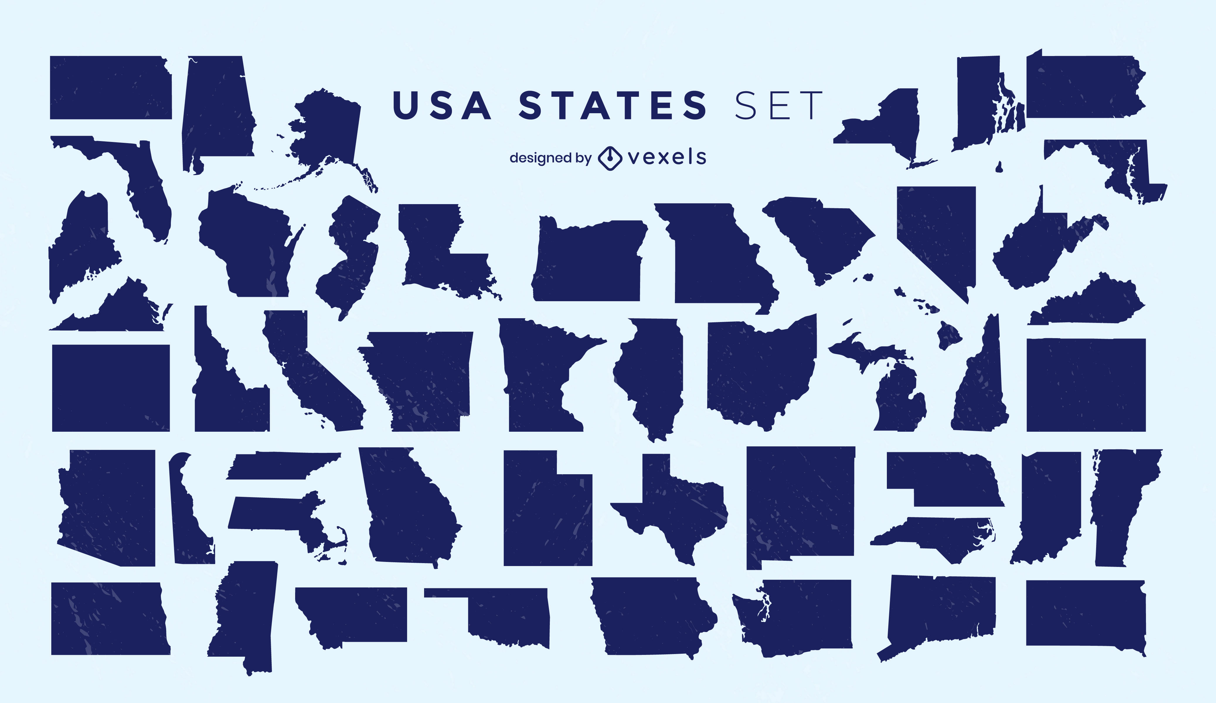 States of the US silhouettes set