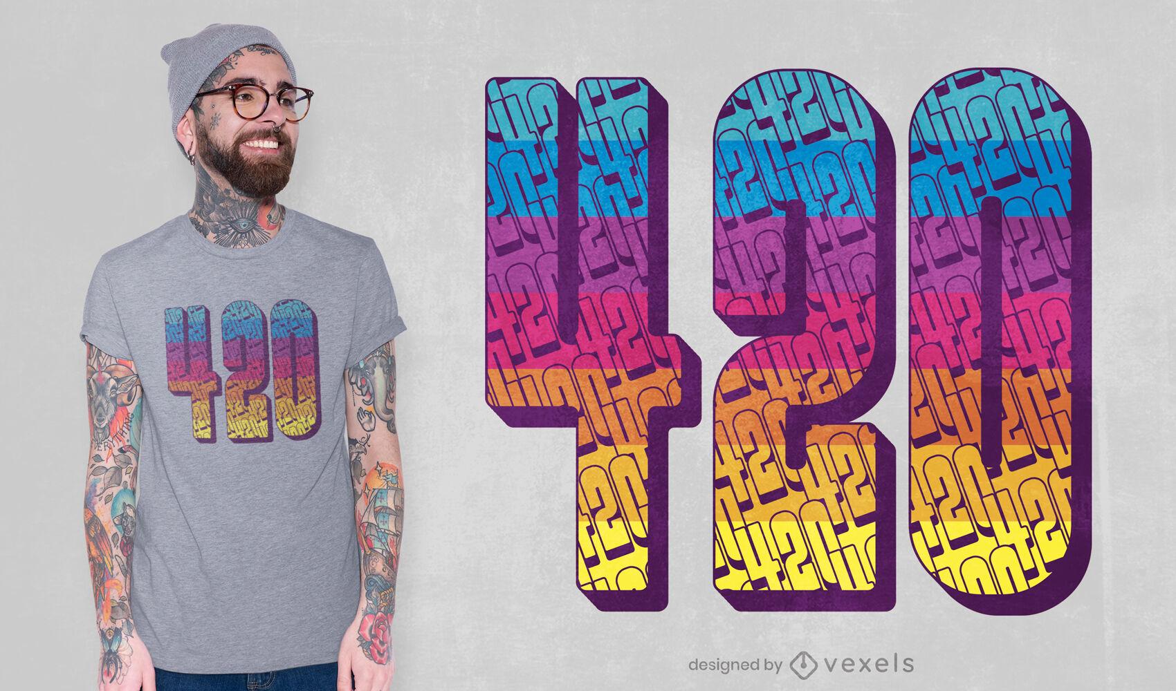 420 weed dise?o de camiseta con letras coloridas