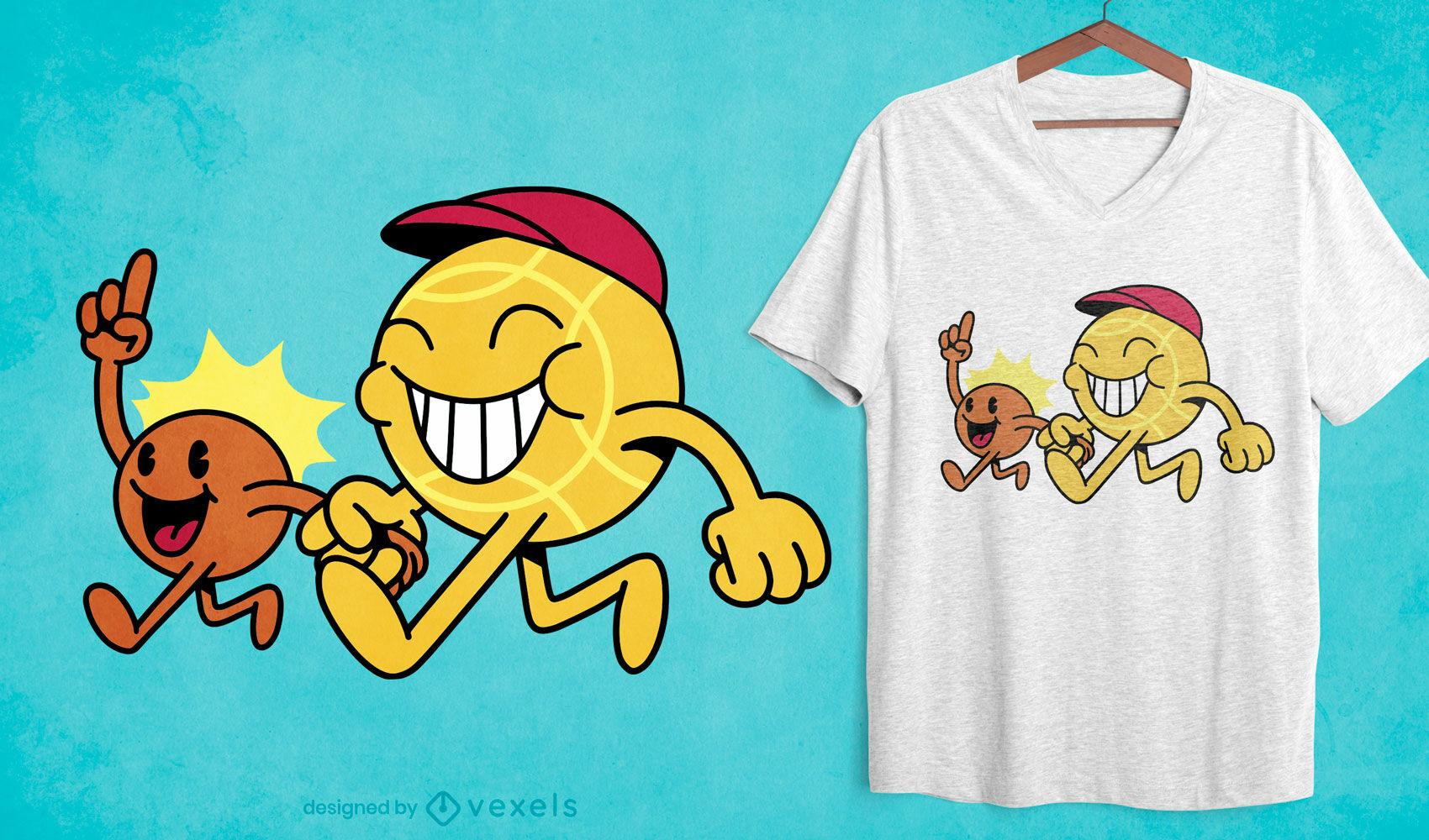 Diseño de camiseta de dibujos animados franceses de petanca.