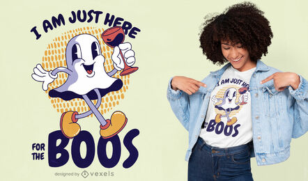 Diseño de camiseta de cita de fantasma de dibujos animados retro
