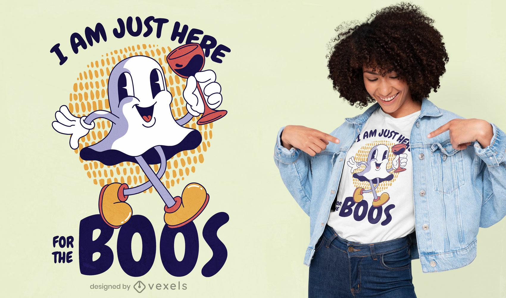 Dise?o de camiseta de cita de fantasma de dibujos animados retro