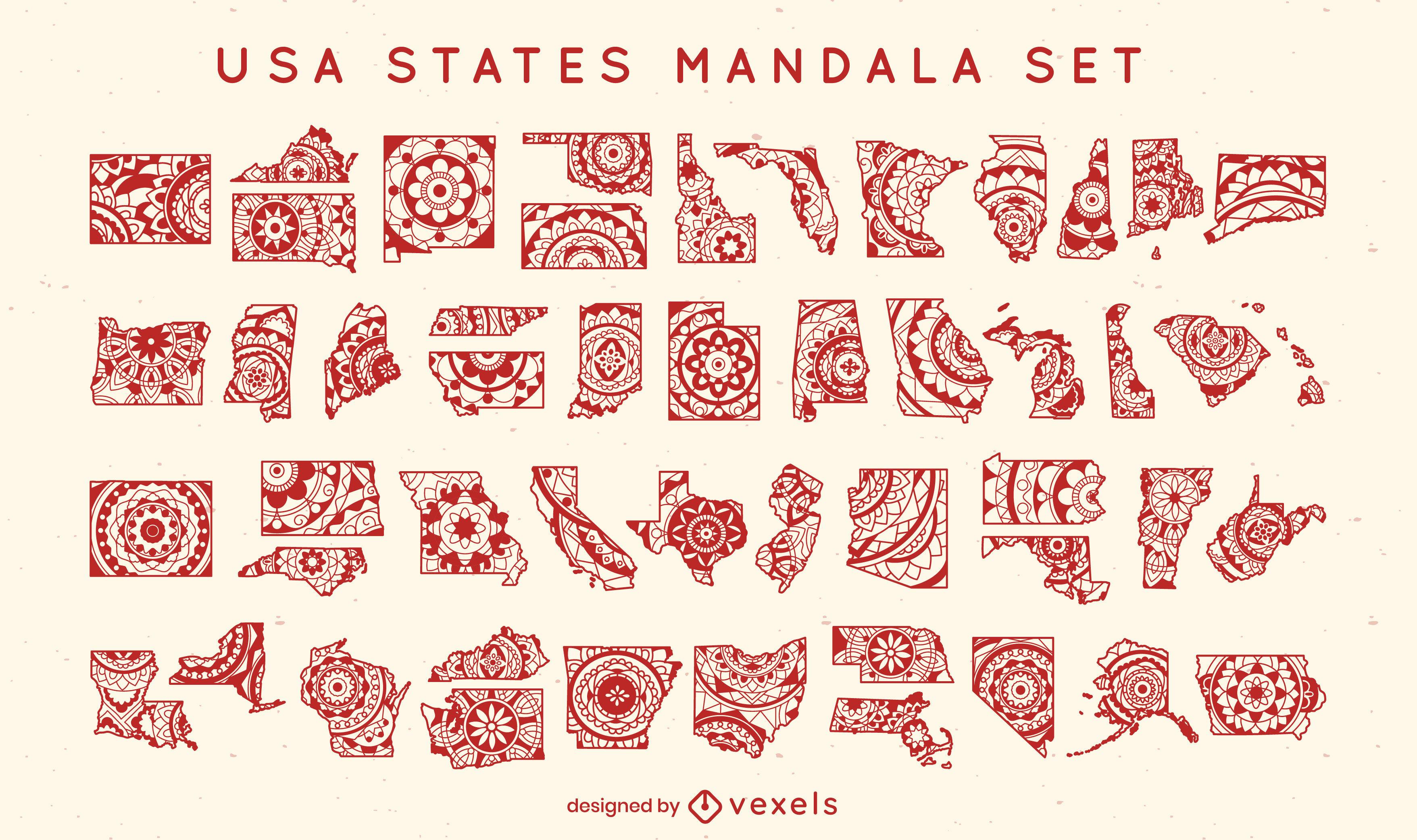 Estados del conjunto de mandala de EE. UU.