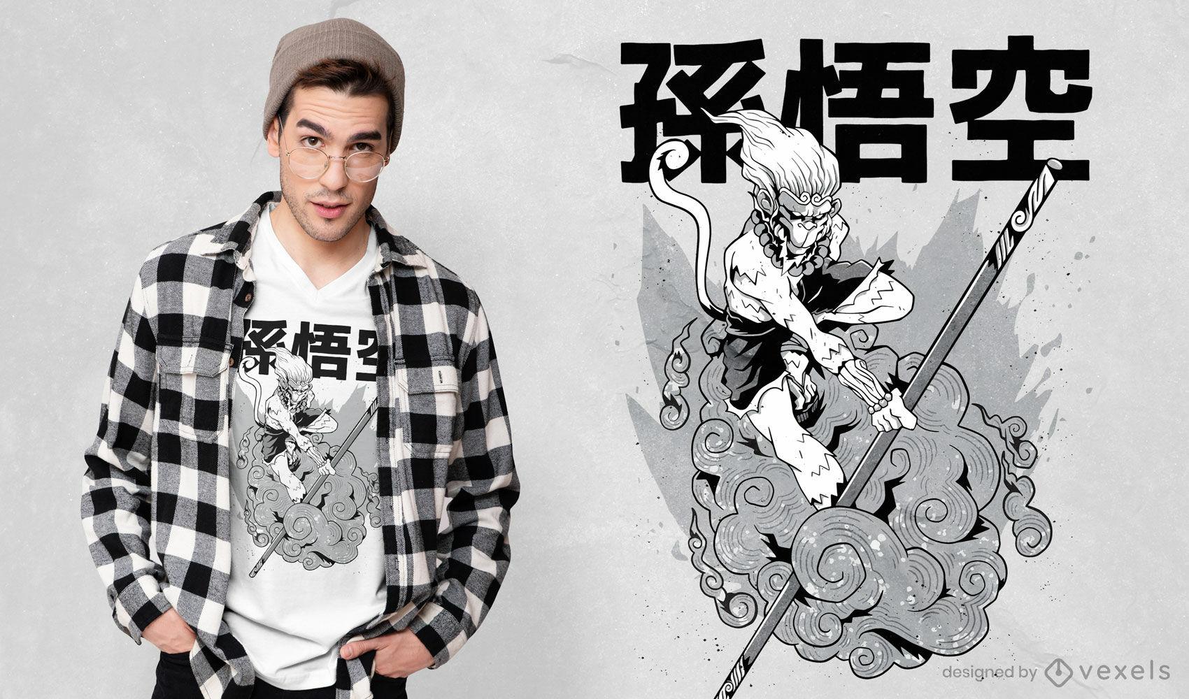 Design de t-shirt manga Monkey King