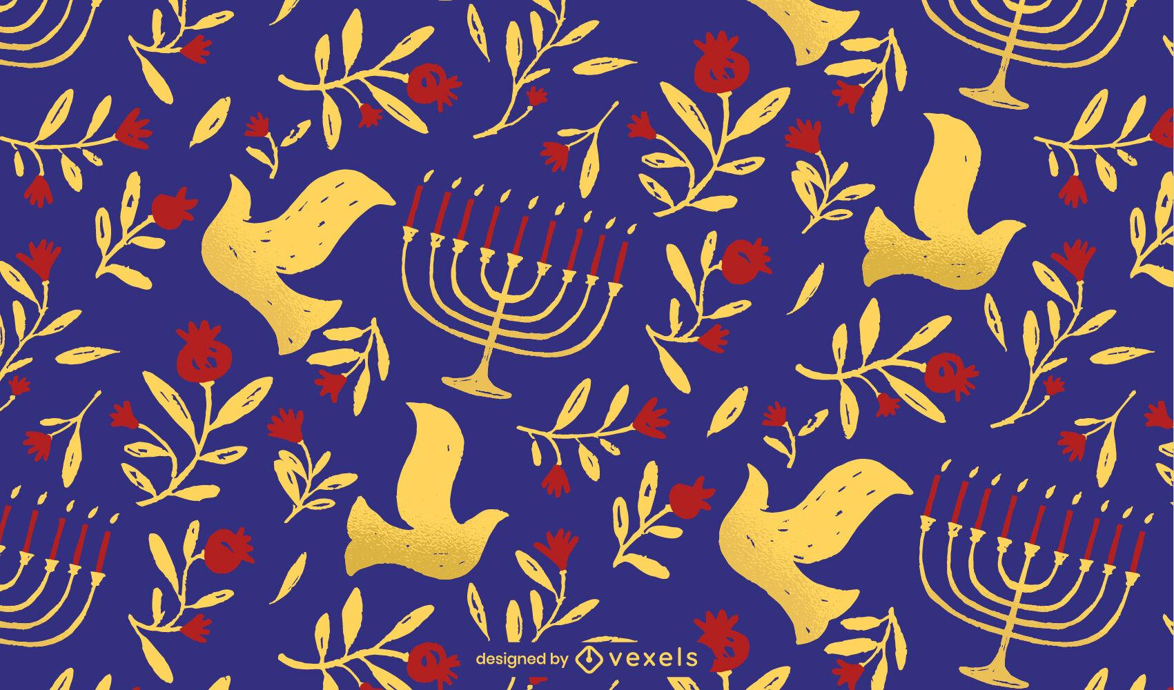 Patrón de doodle de elementos de Hanukkah