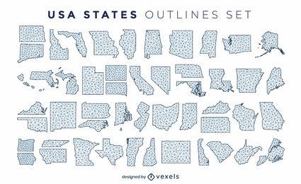 Conjunto de siluetas poligonales de los estados de los EE. UU.