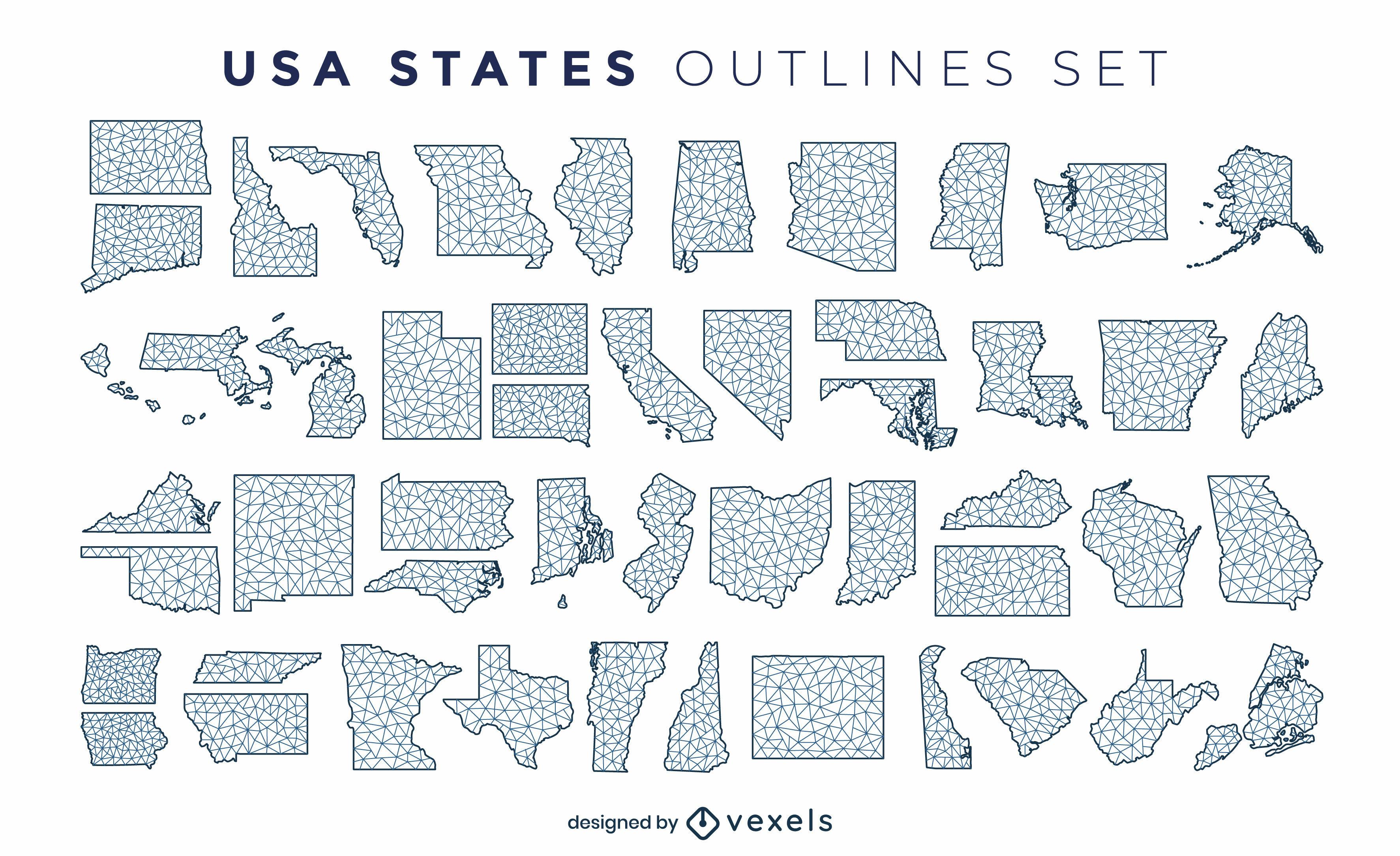 Staaten der US-amerikanischen polygonalen Silhouetten eingestellt
