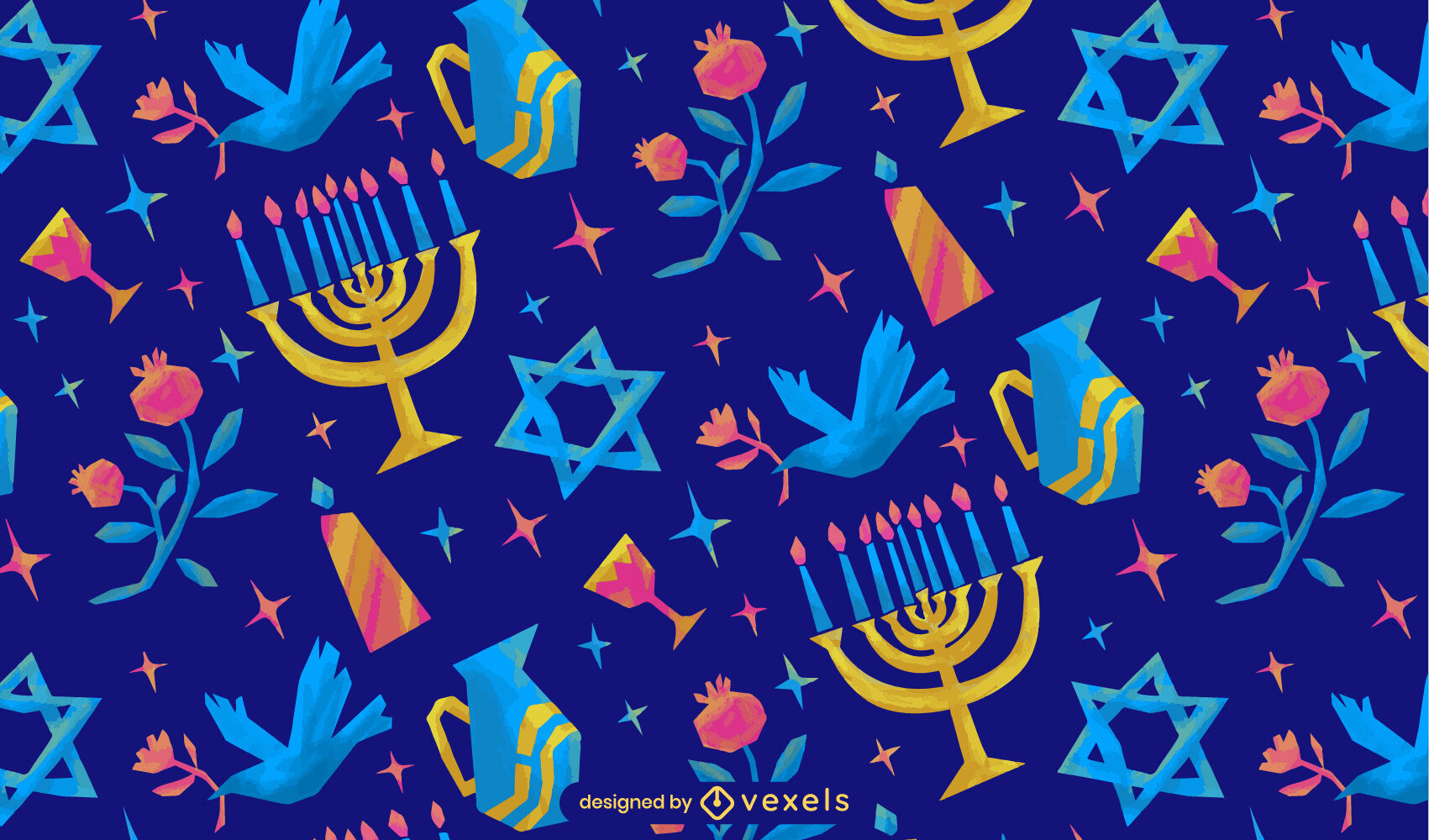 Elementos de Hanukkah seimi patrón plano