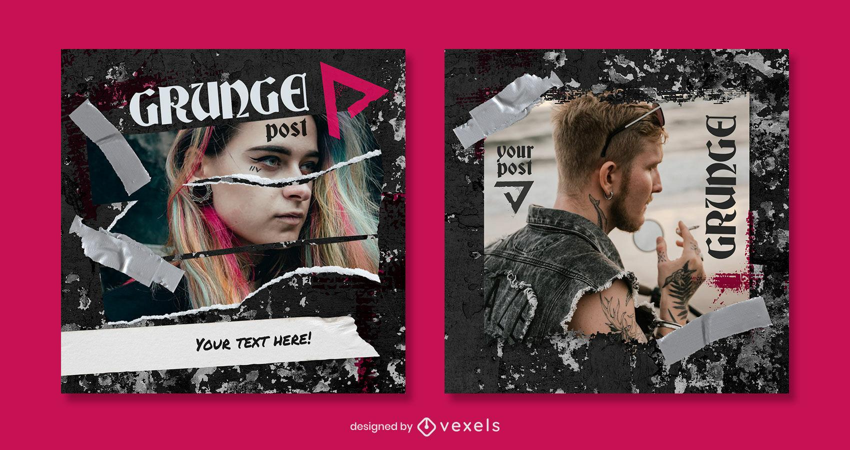Plantilla de publicaci?n de instagram de grunge y cintas