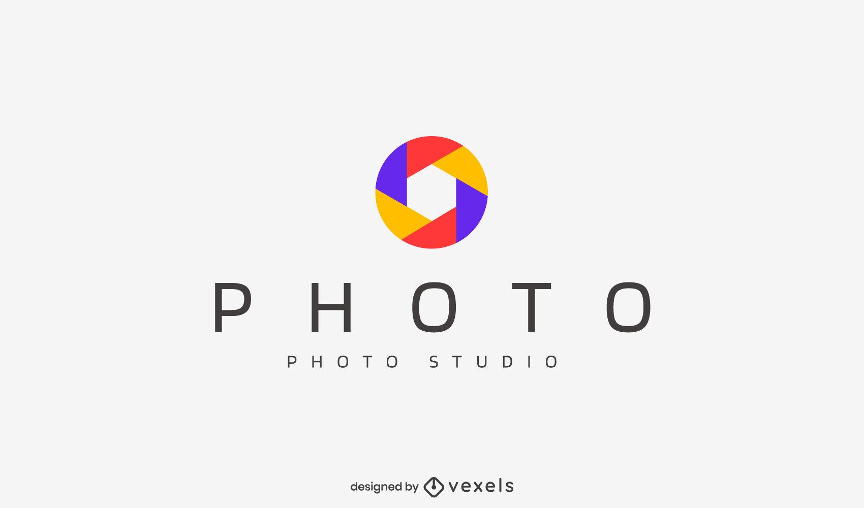 Logotipo de lente plana de fotografía