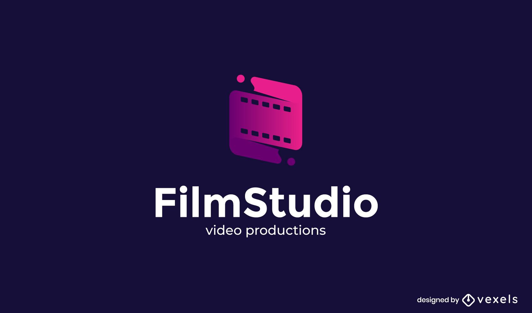Film roll gradient logo template