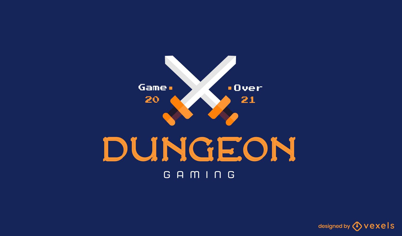 Logo-Gaming mit gekreuzten Schwertern