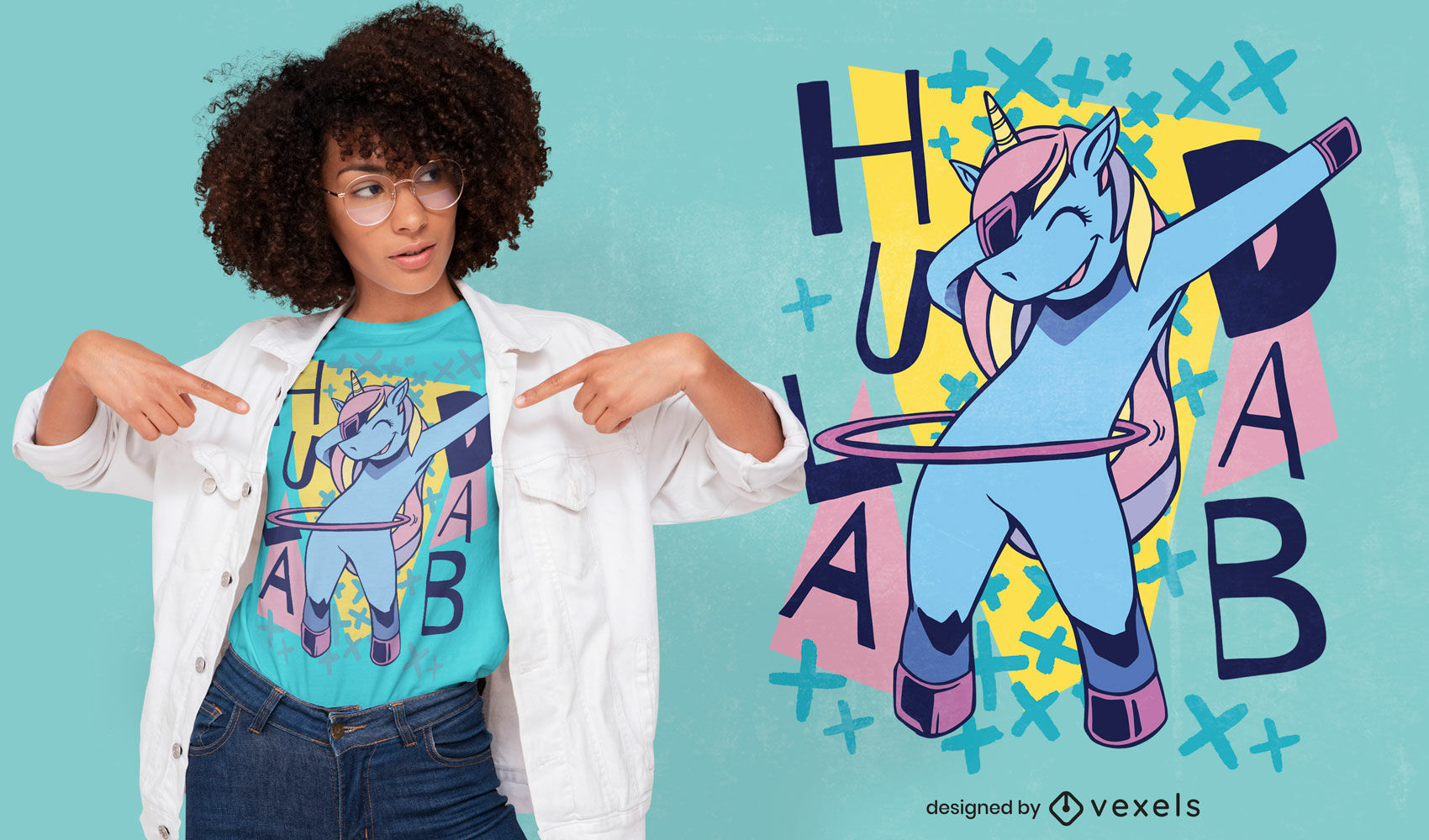 Dise?o de camiseta unicornio hula hooping dab