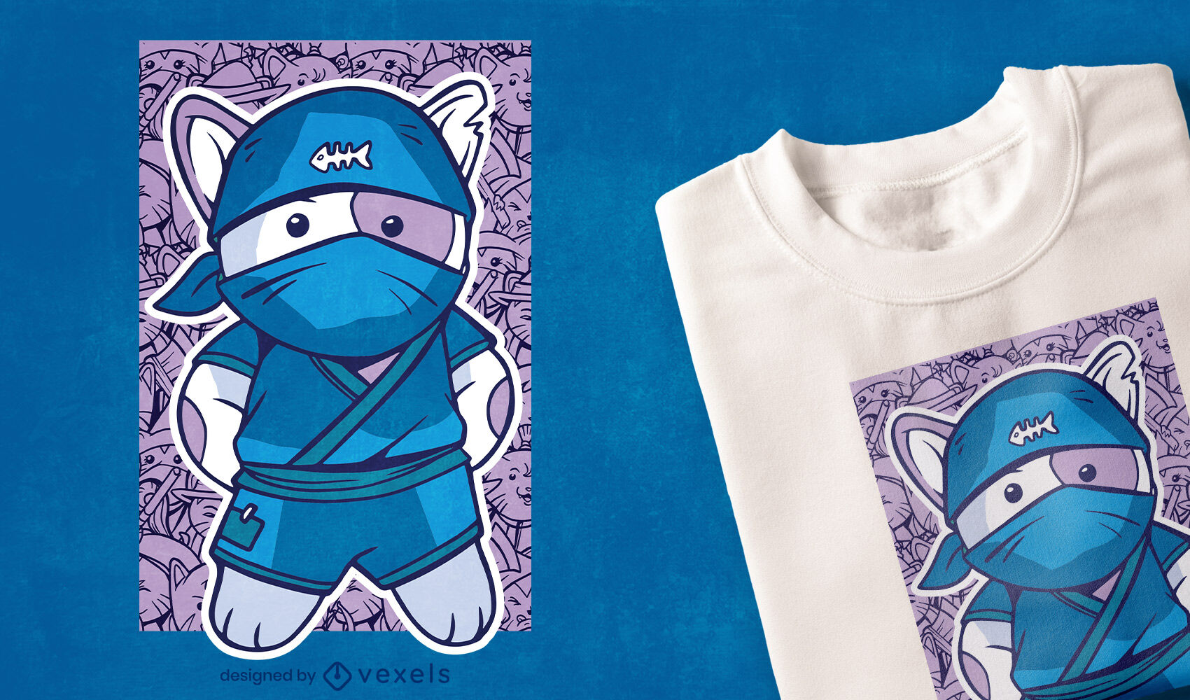 Ninja cat t-shirt design