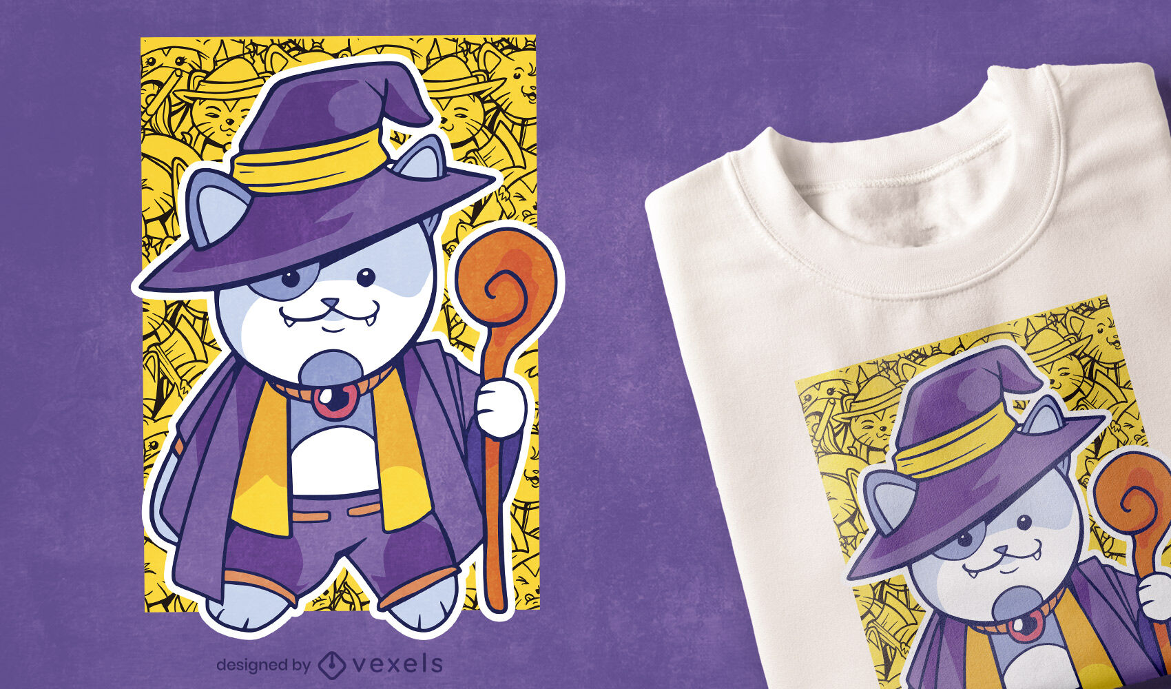 Diseño de camiseta de gato hechicero