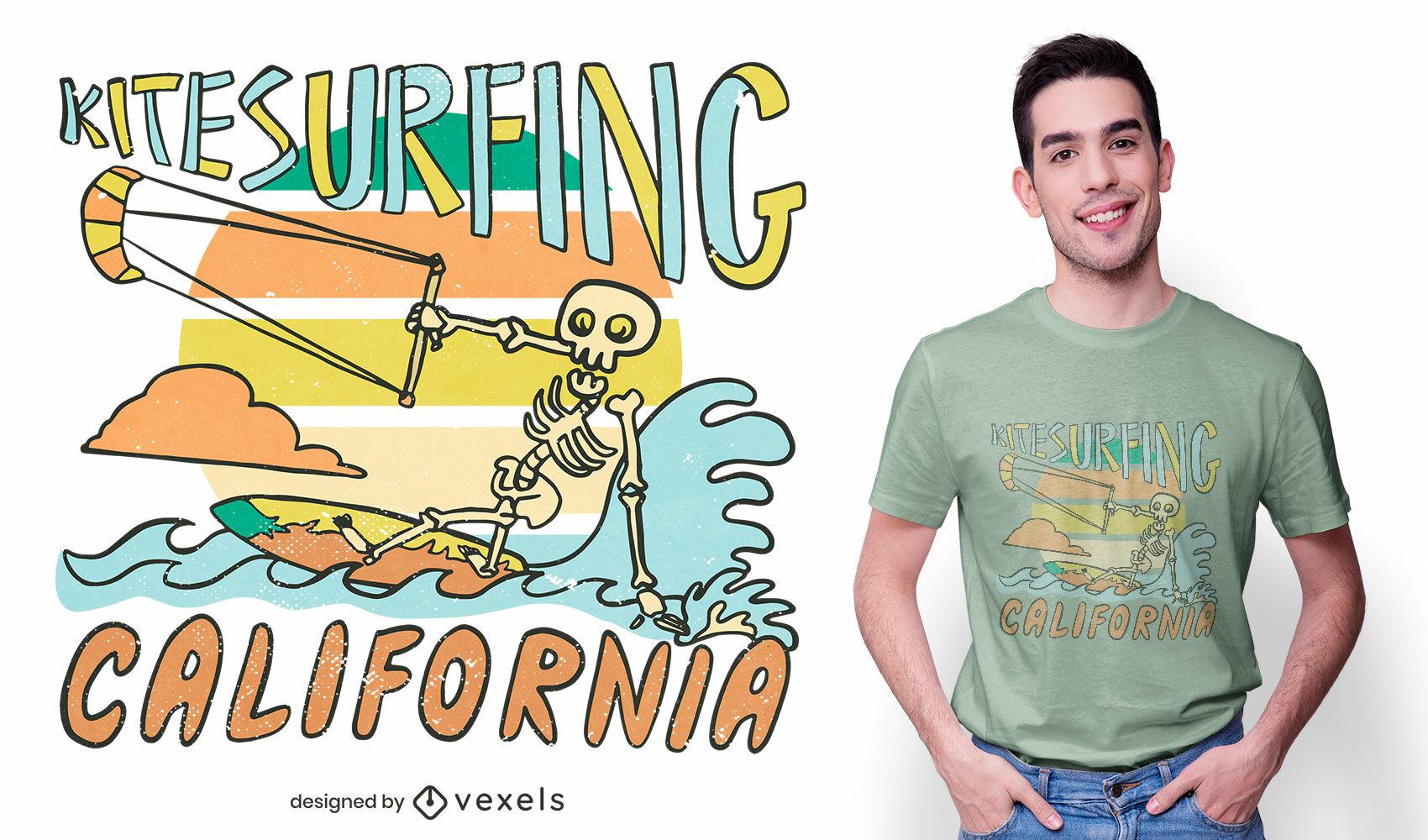 Kitesurfing skeleton t-shirt design