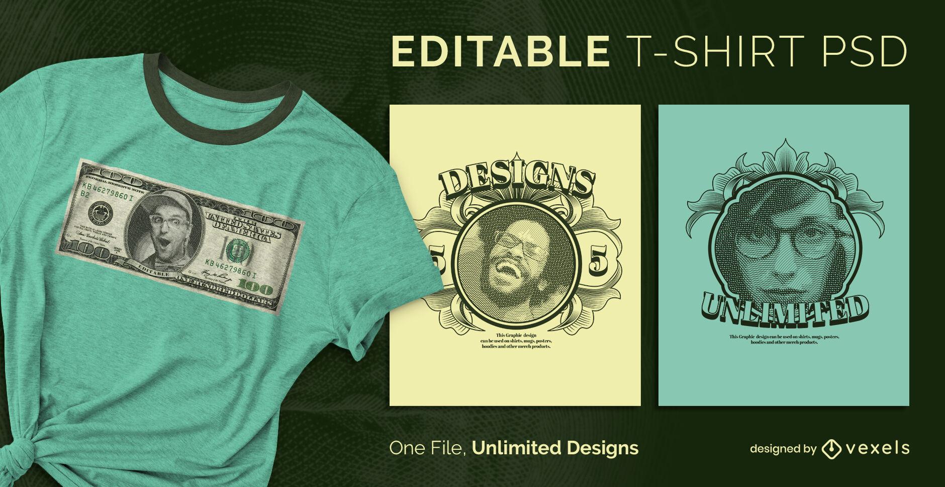 Skalierbare PSD-T-Shirt-Vorlage mit Geldeffekt