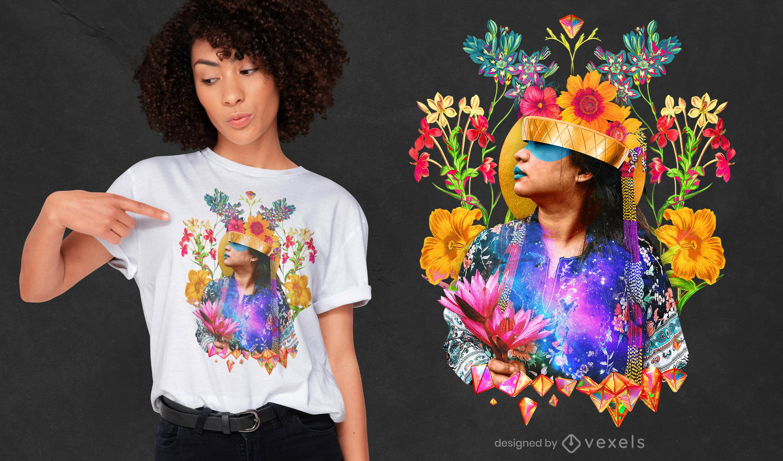 Design de t-shirt psd de menina com flores selvagens