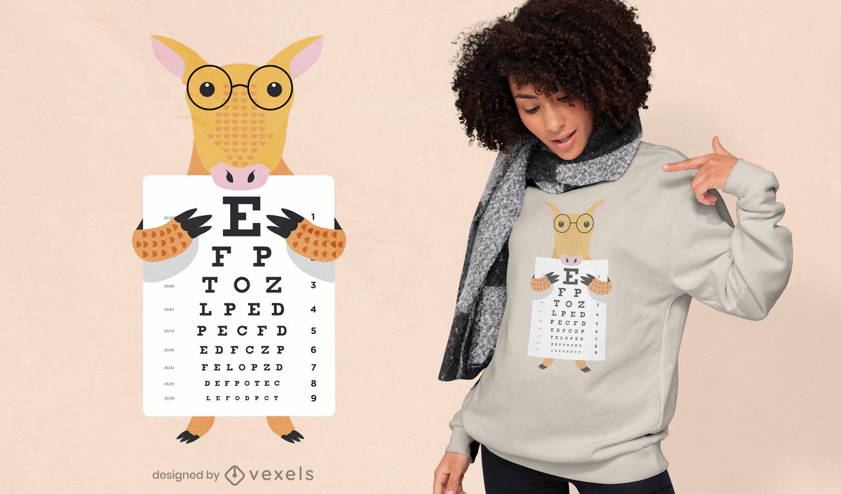 Armadillo con diseño de camiseta de gráfico optométrico
