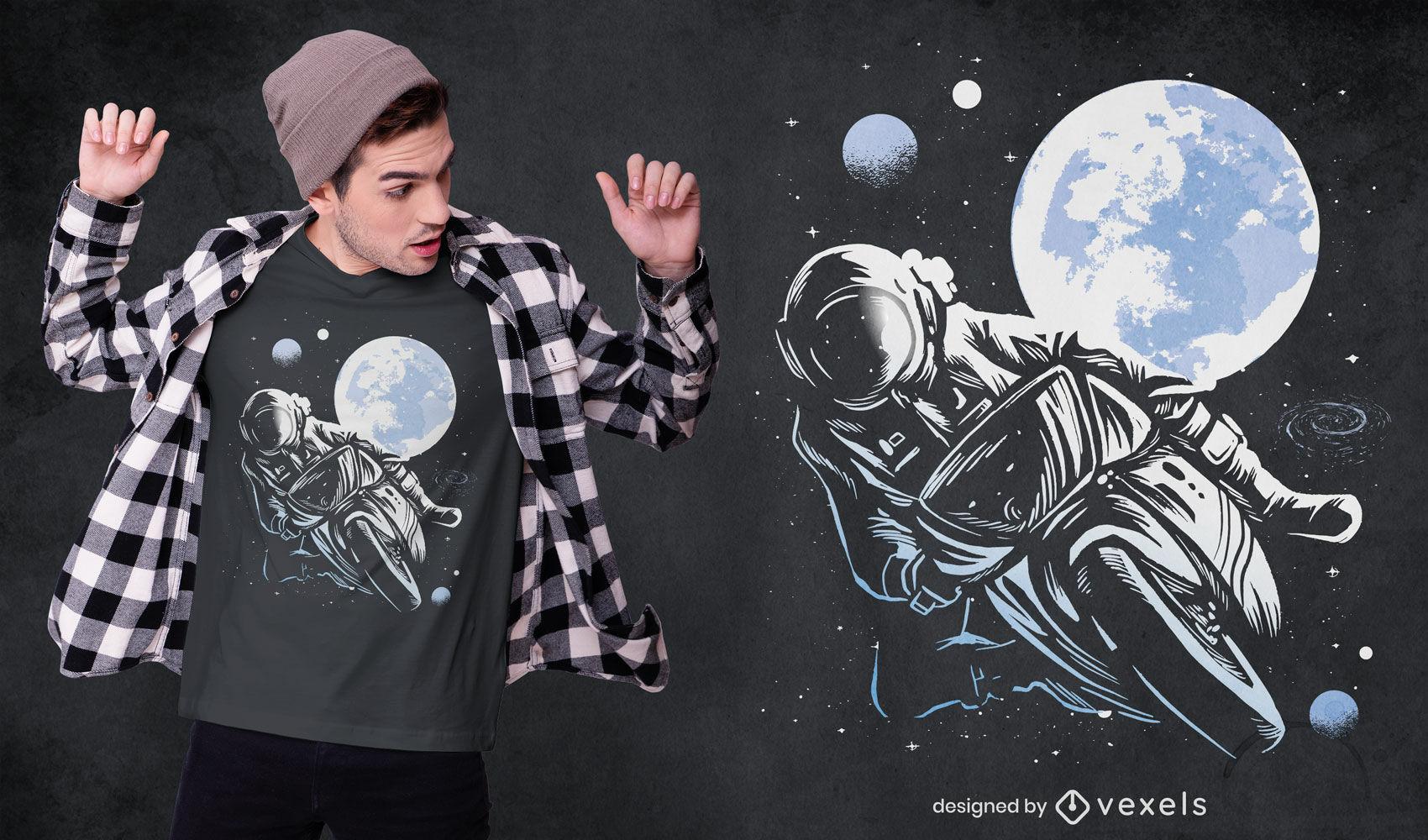 Diseño de camiseta de moto astronauta.