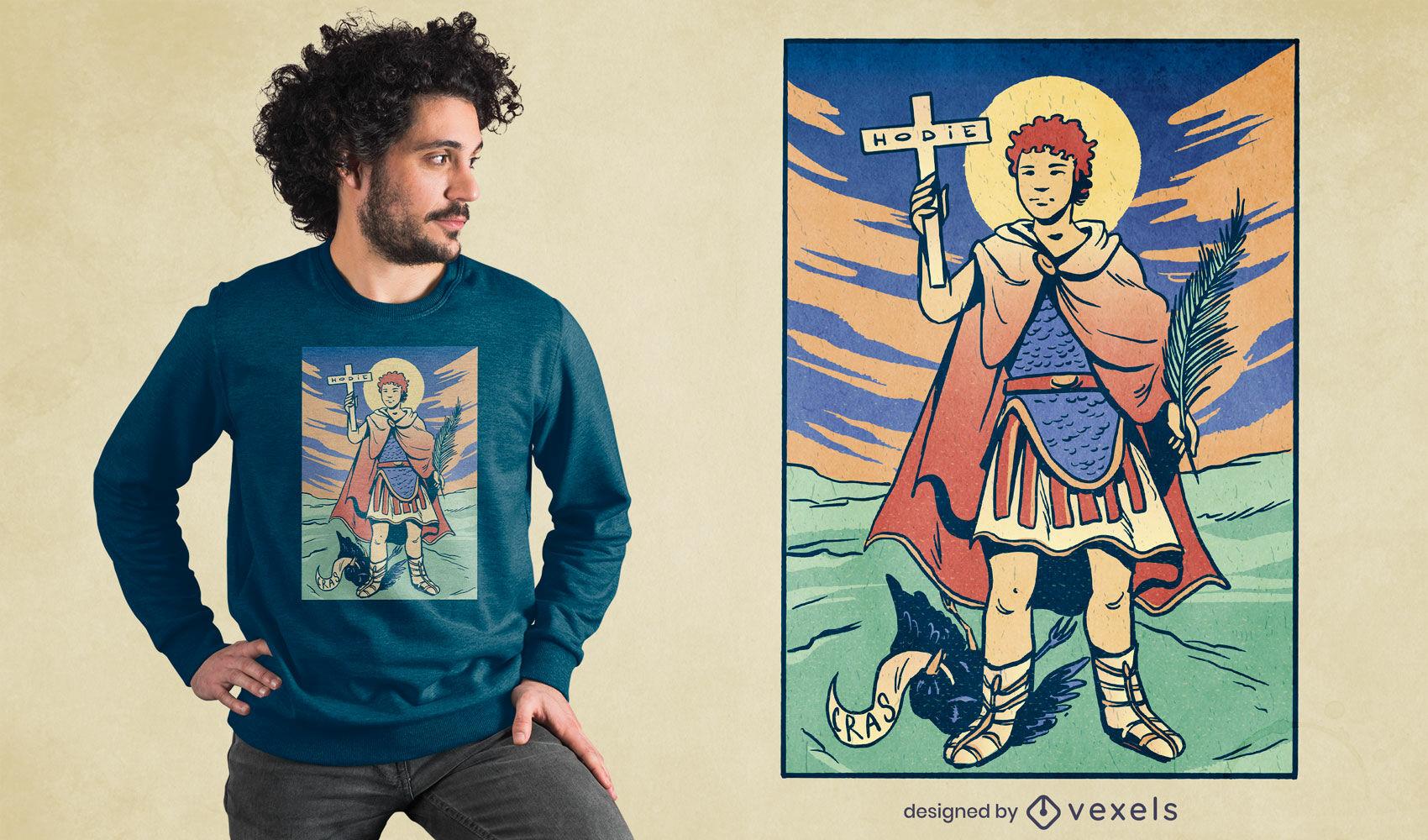 Diseño de camiseta del santo católico del centurión romano.