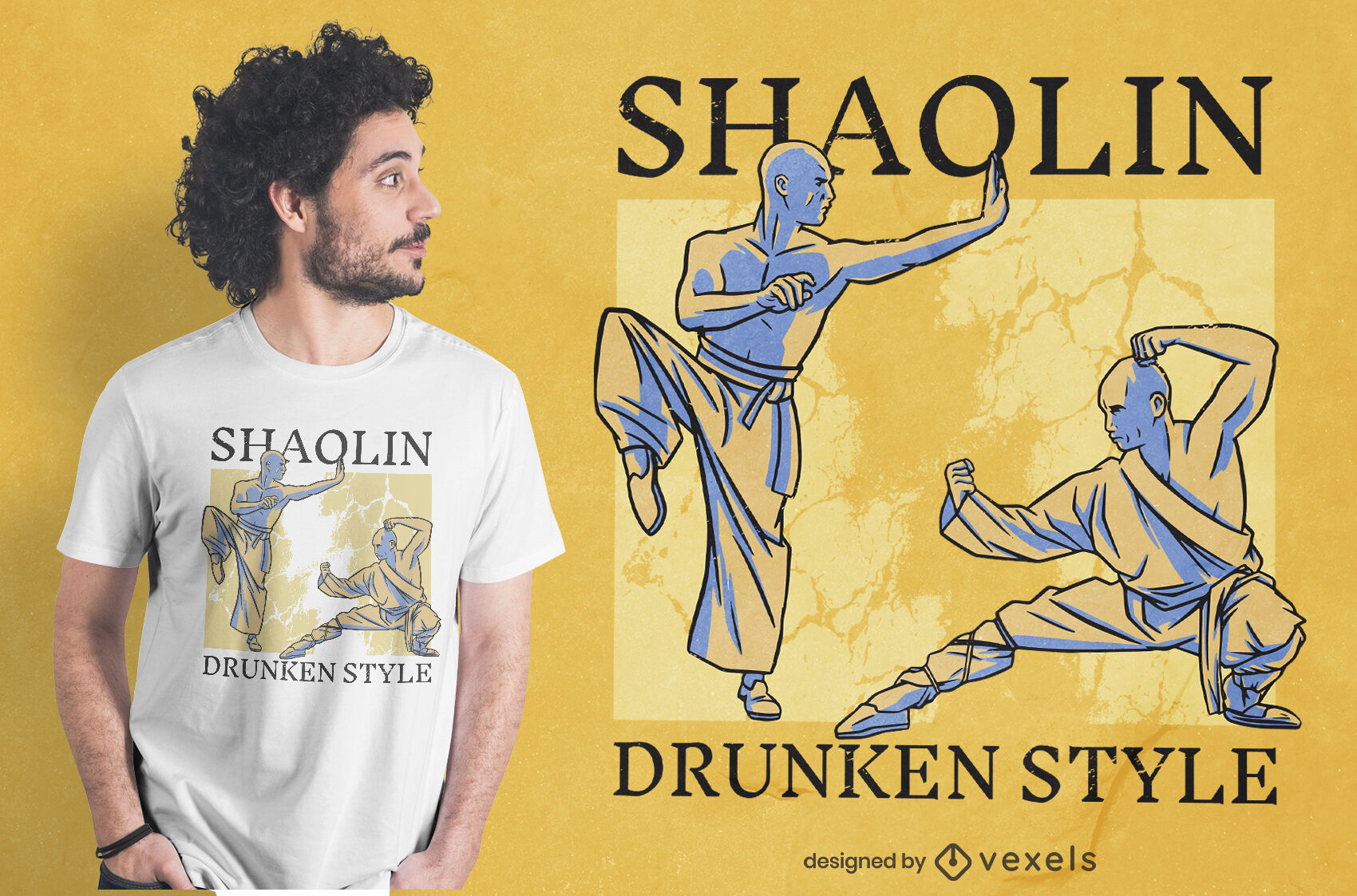 Diseño de camiseta de estilo borracho Shaolin