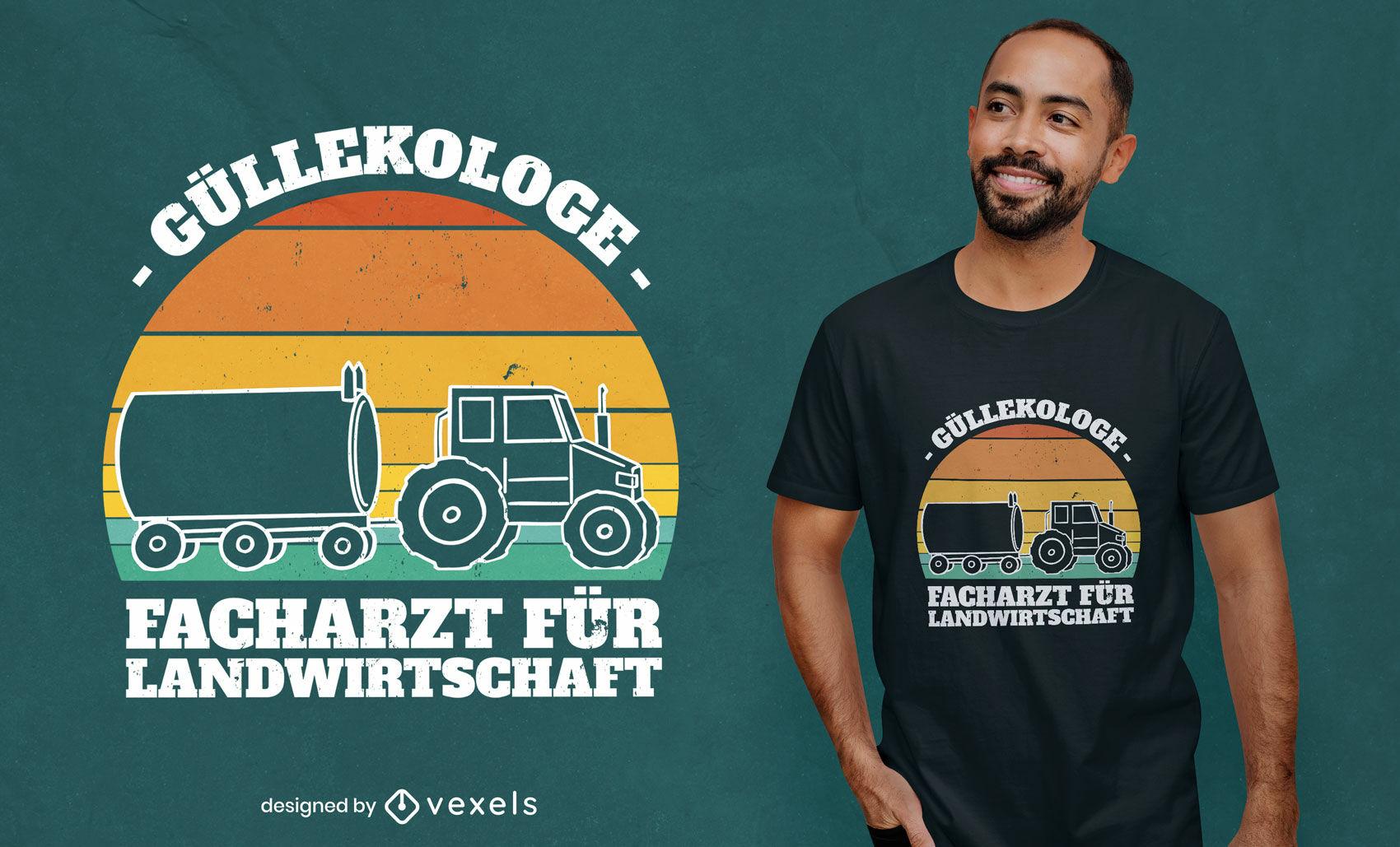 Trator com design de camiseta de citação alemã