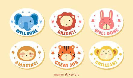 Cute animal motivational quote sticker set
