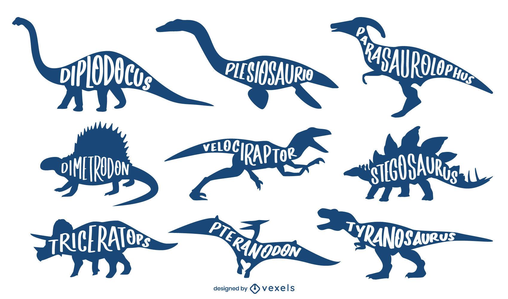 Conjunto de nombres de animales de siluetas de dinosaurios