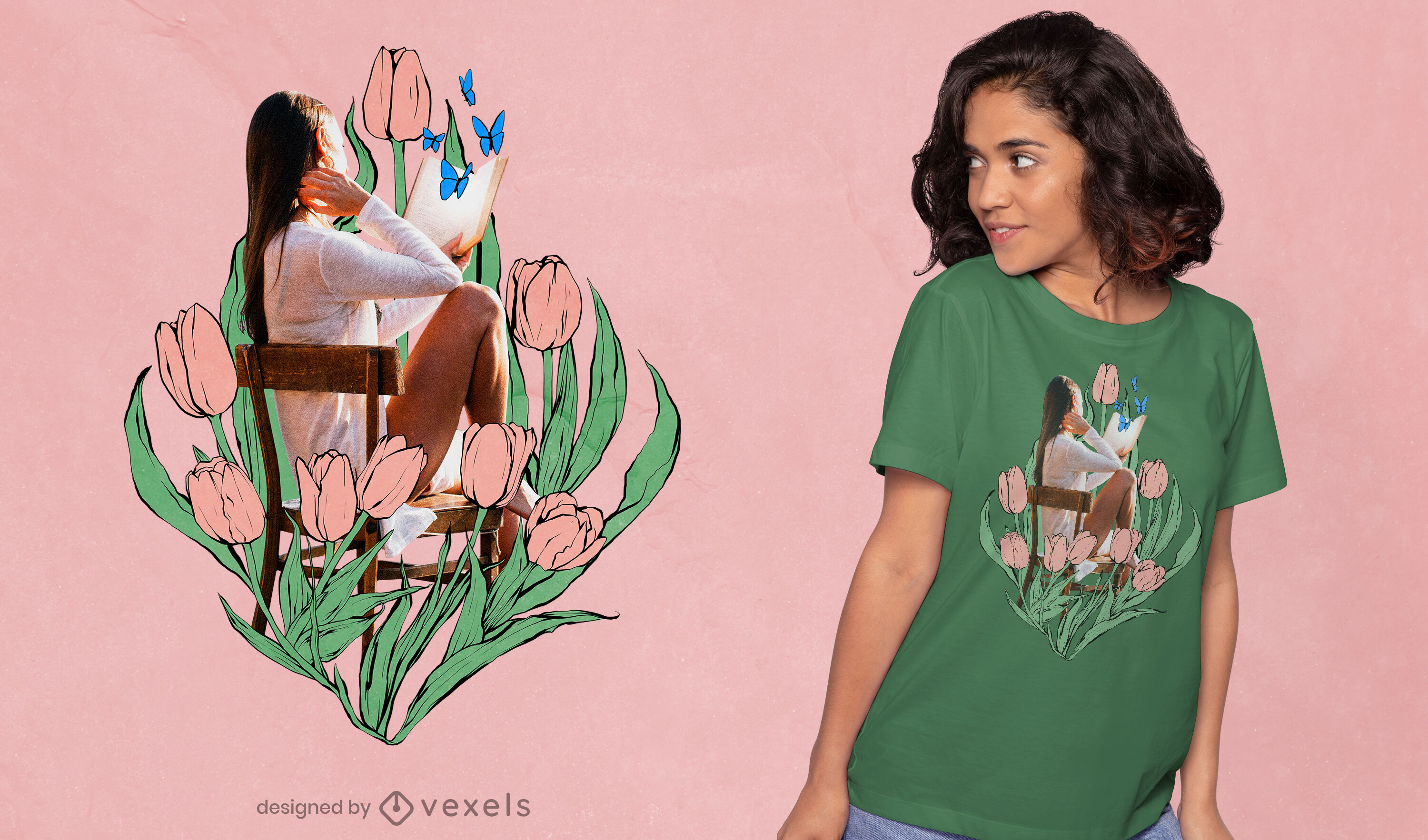Girl in chair with drawn tulips t-shirt design