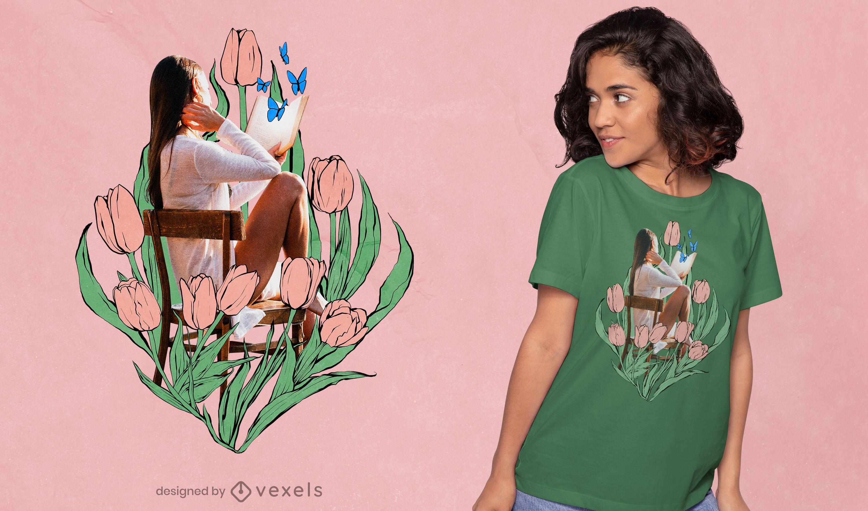 Menina na cadeira com desenho de t-shirt de tulipas desenhadas