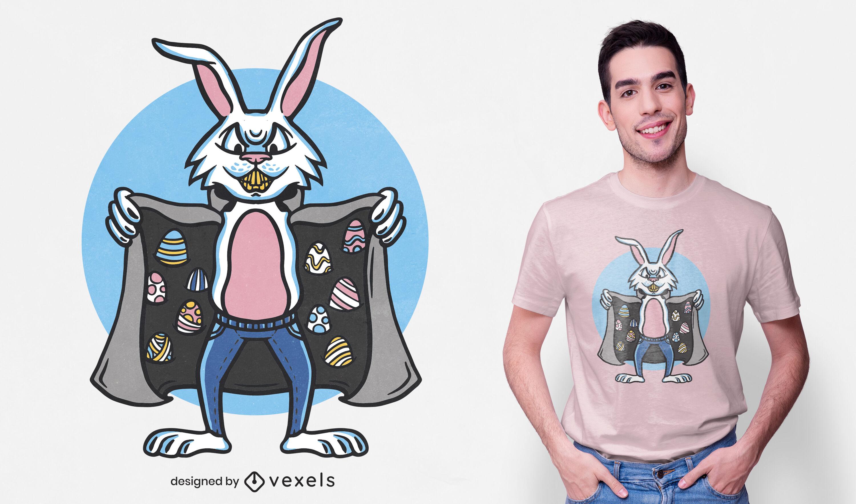 Diseño de camiseta de conejo de huevo de pascua de contrabandista