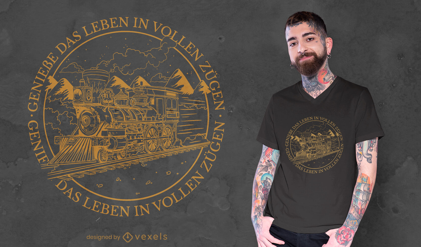 Stroke train with german quote t-shirt design