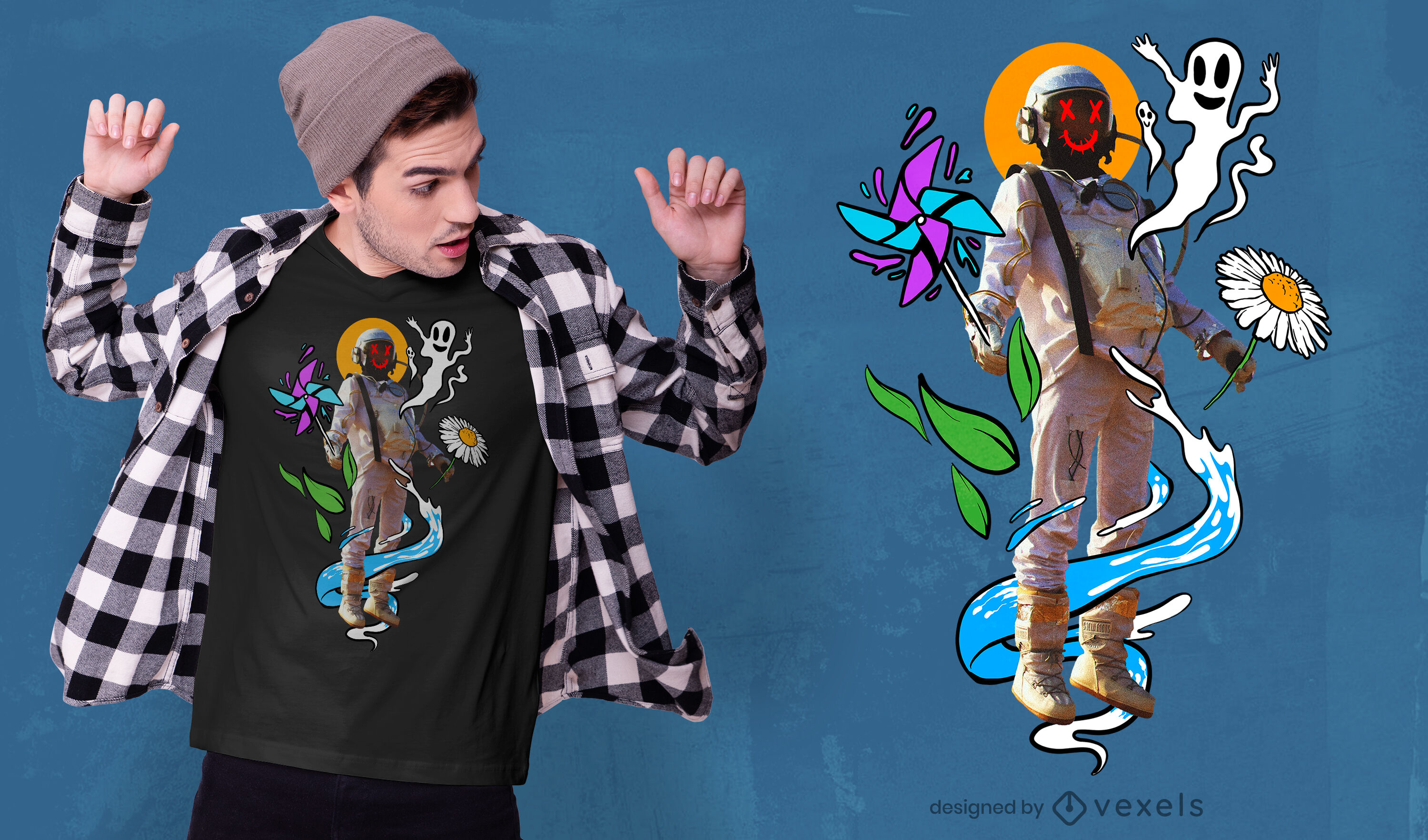 Trippy astronaut with drawings psd t-shirt design