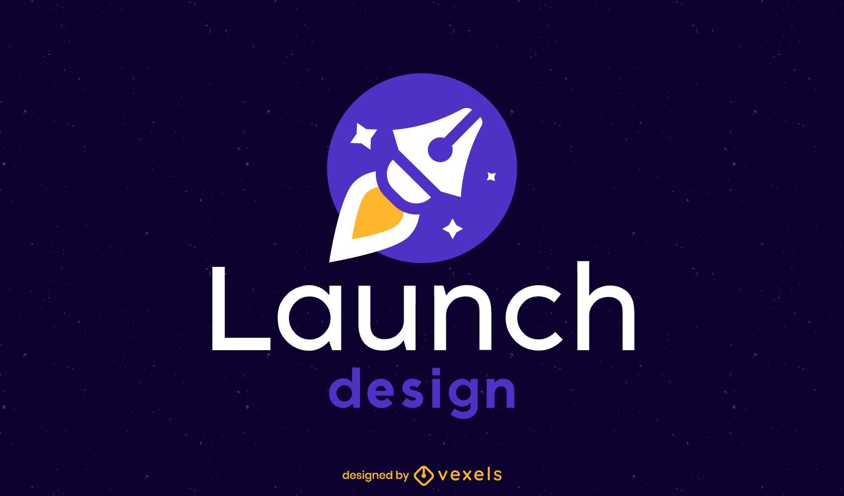 Rocket Pen flache Logovorlage