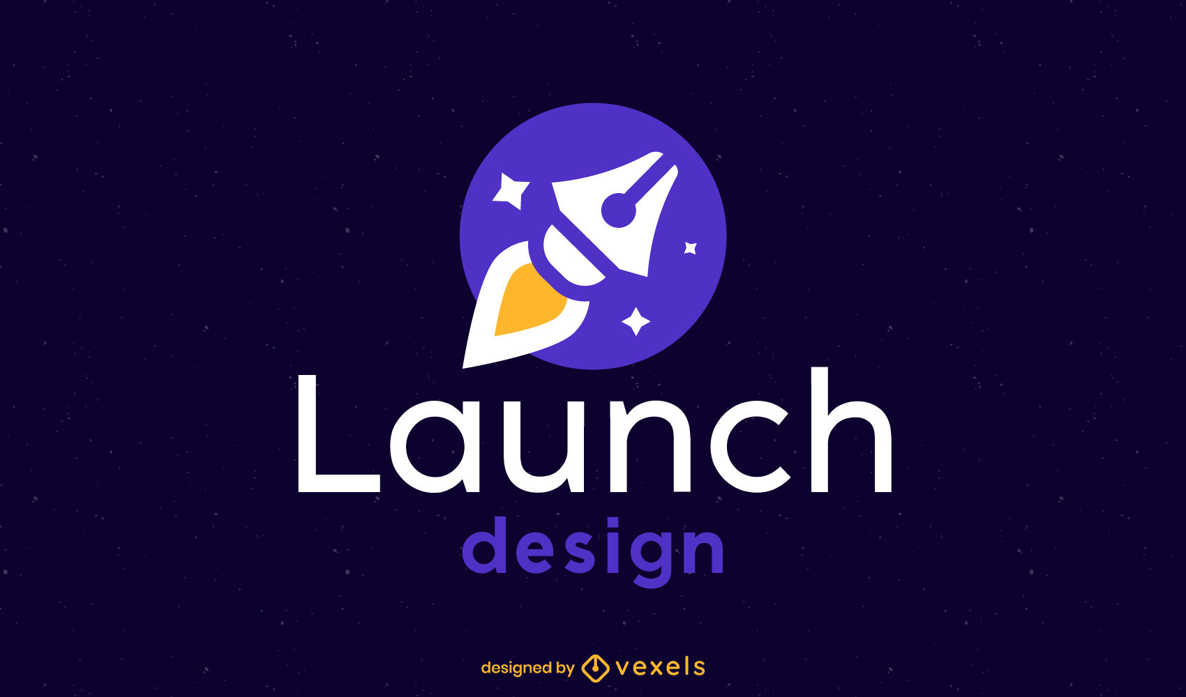 Rocket pen flat logo template