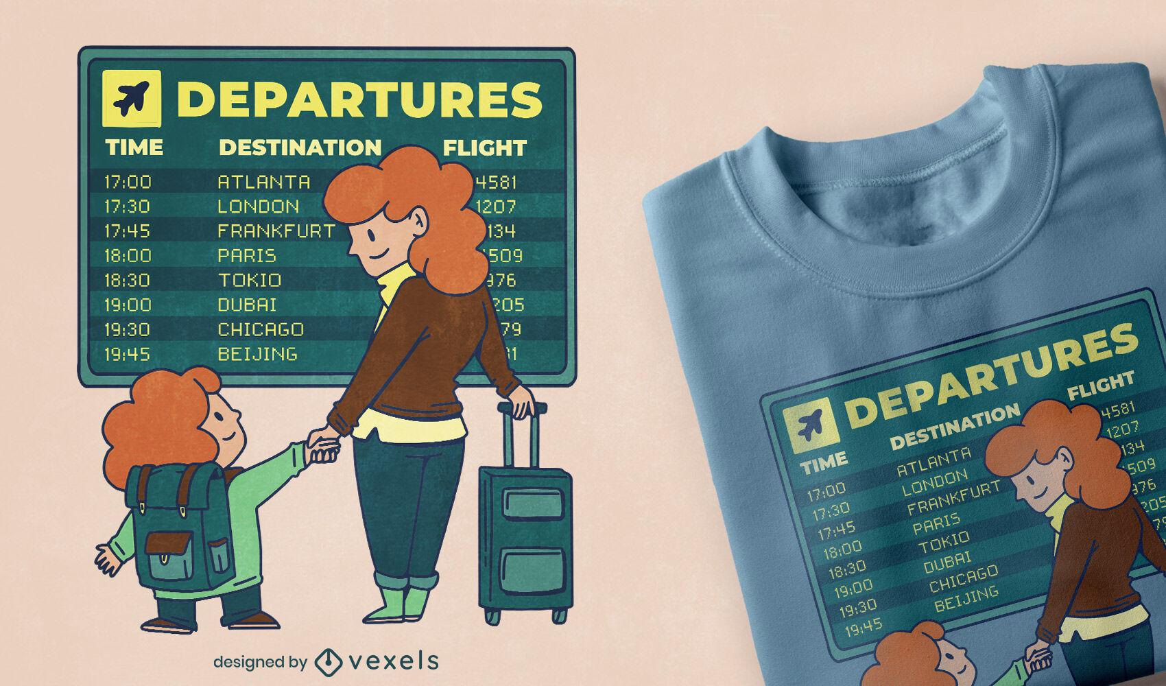 Diseño de camiseta del aeropuerto de mamá e hijo.