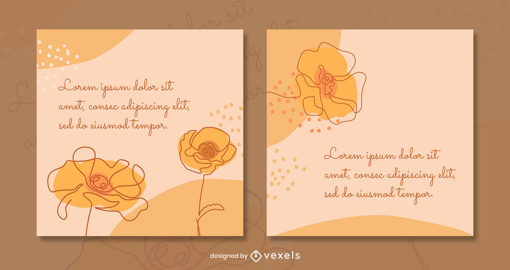 Continuous lines floral post template