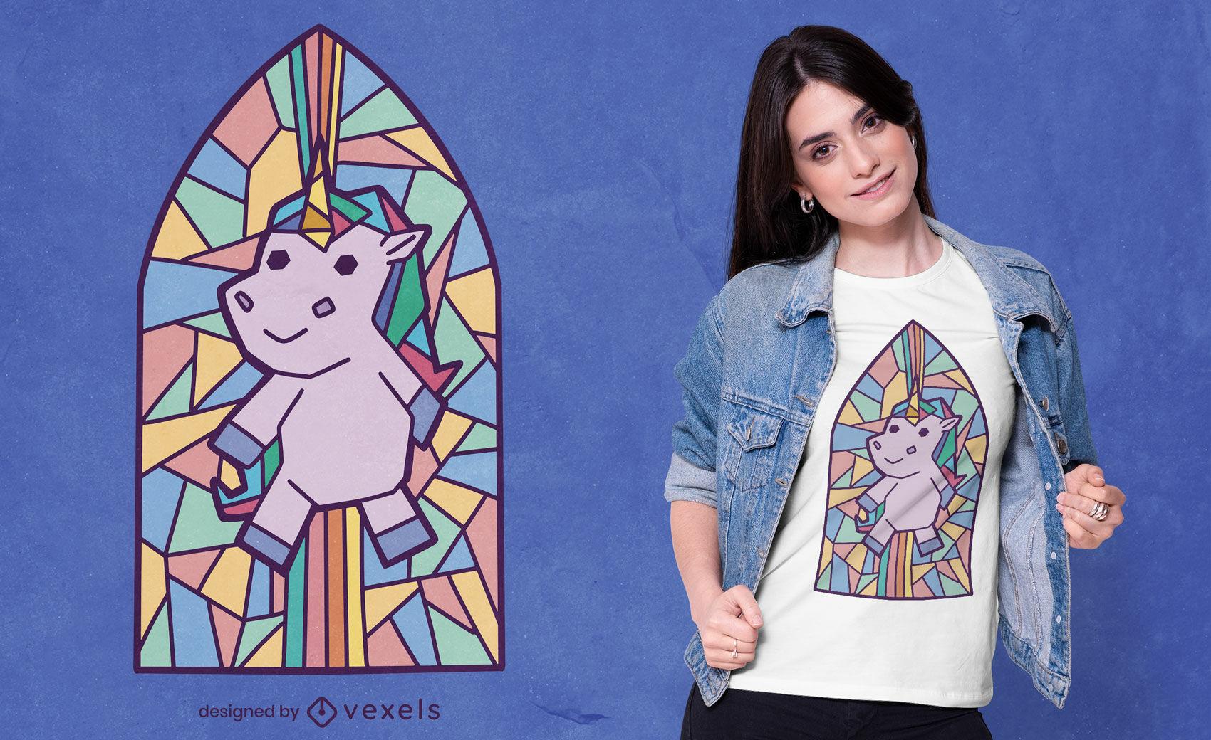 Diseño de camiseta de ventana de iglesia unicornio