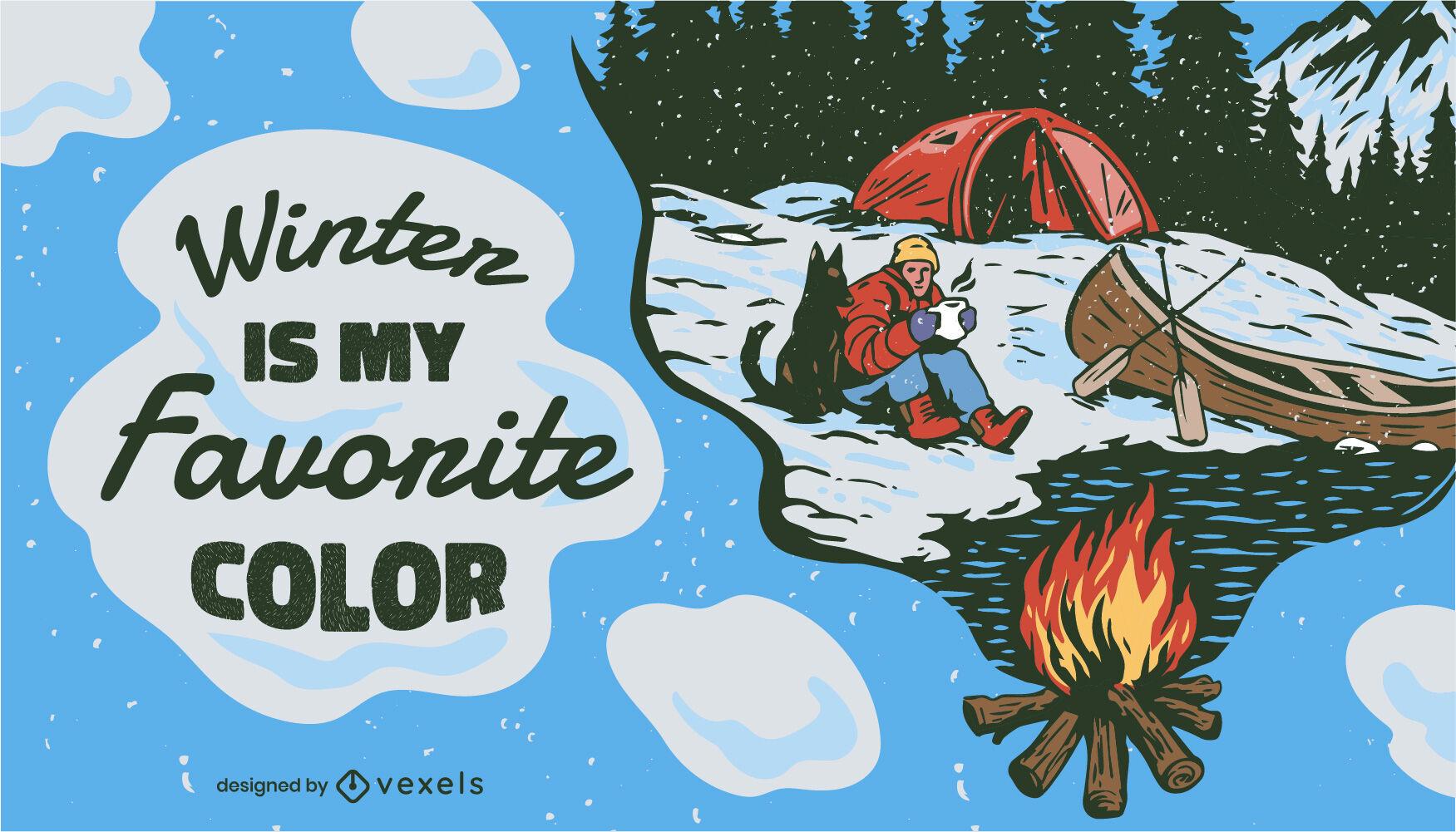 Ilustração de viagem de acampamento com neve no inverno