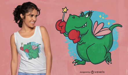 T-rex dinosaur boxer fairy t-shirt design