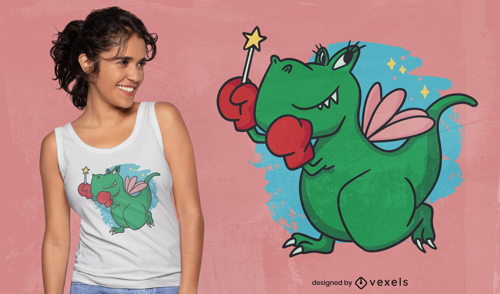Diseño de camiseta de hadas boxer dinosaurio t-rex